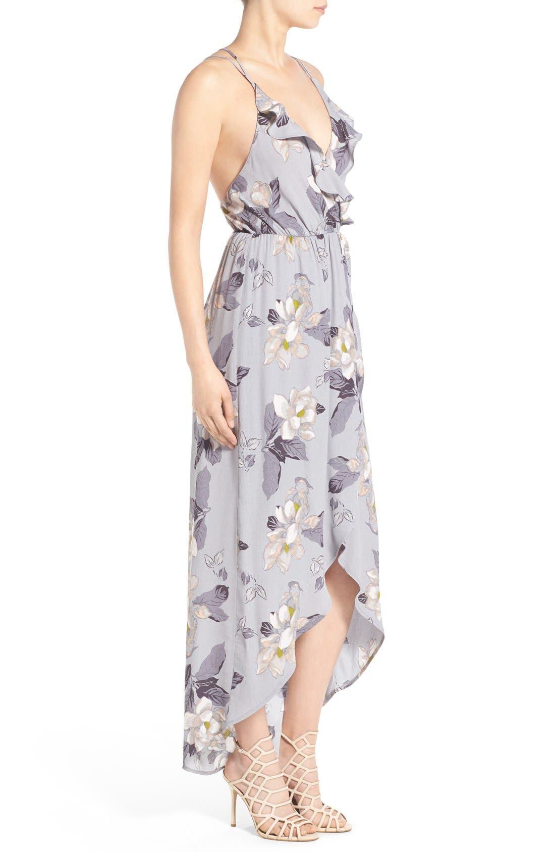 ASTR Ruffle Surplice High/Low Maxi Dress,                             Alternate thumbnail 3, color,                             Grey Multi Floral