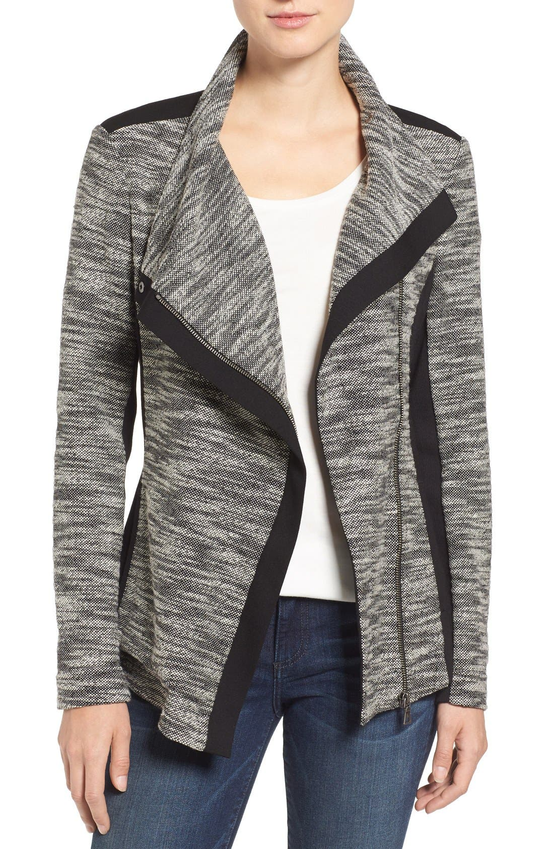 Main Image - Two by Vince Camuto Asymmetrical Mixed Media Jacket (Regular & Petite)