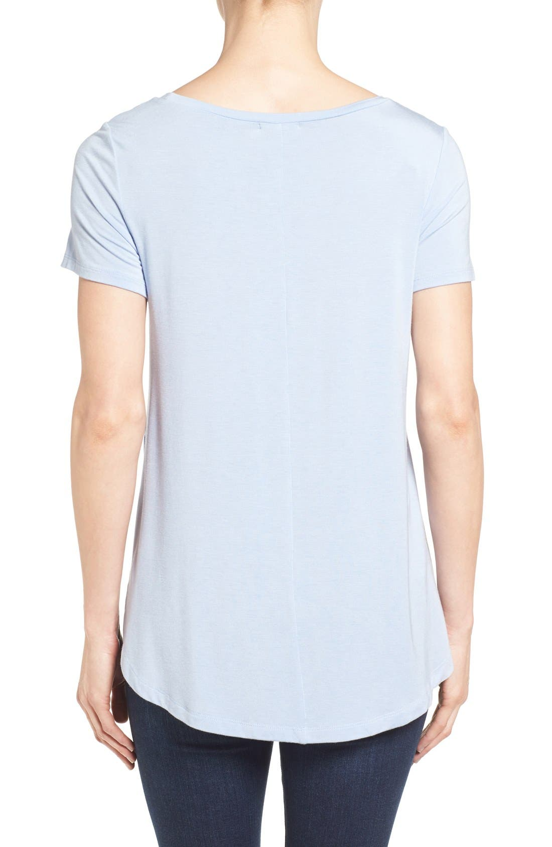 Alternate Image 2  - Halogen® Short Sleeve Shirttail Tee (Regular & Petite)