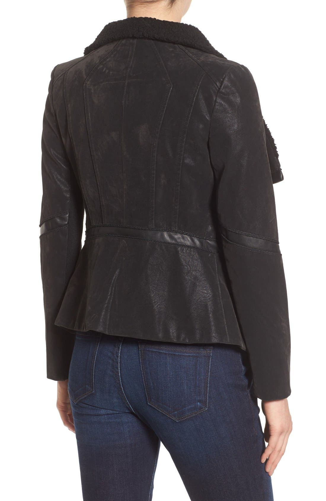 Alternate Image 2  - GUESS Faux Leather Moto Jacket with Faux Fur Trim