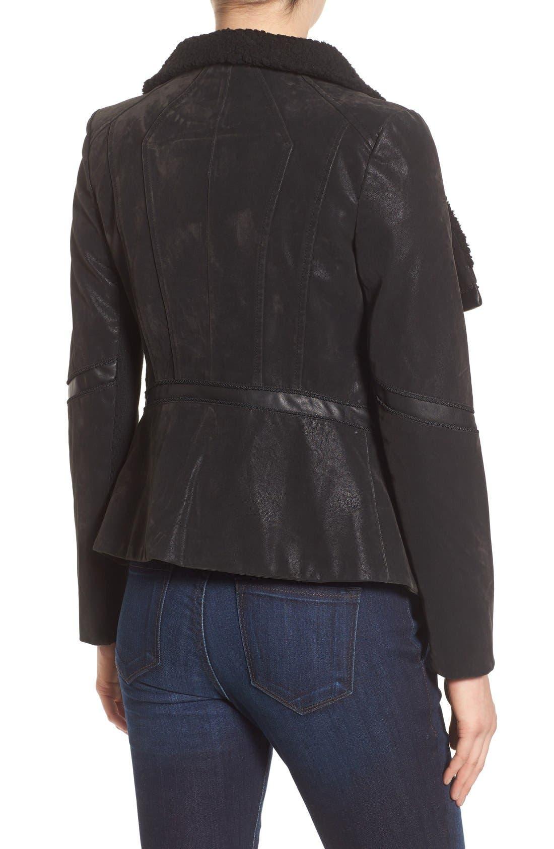 Faux Leather Moto Jacket with Faux Fur Trim,                             Alternate thumbnail 2, color,                             Black
