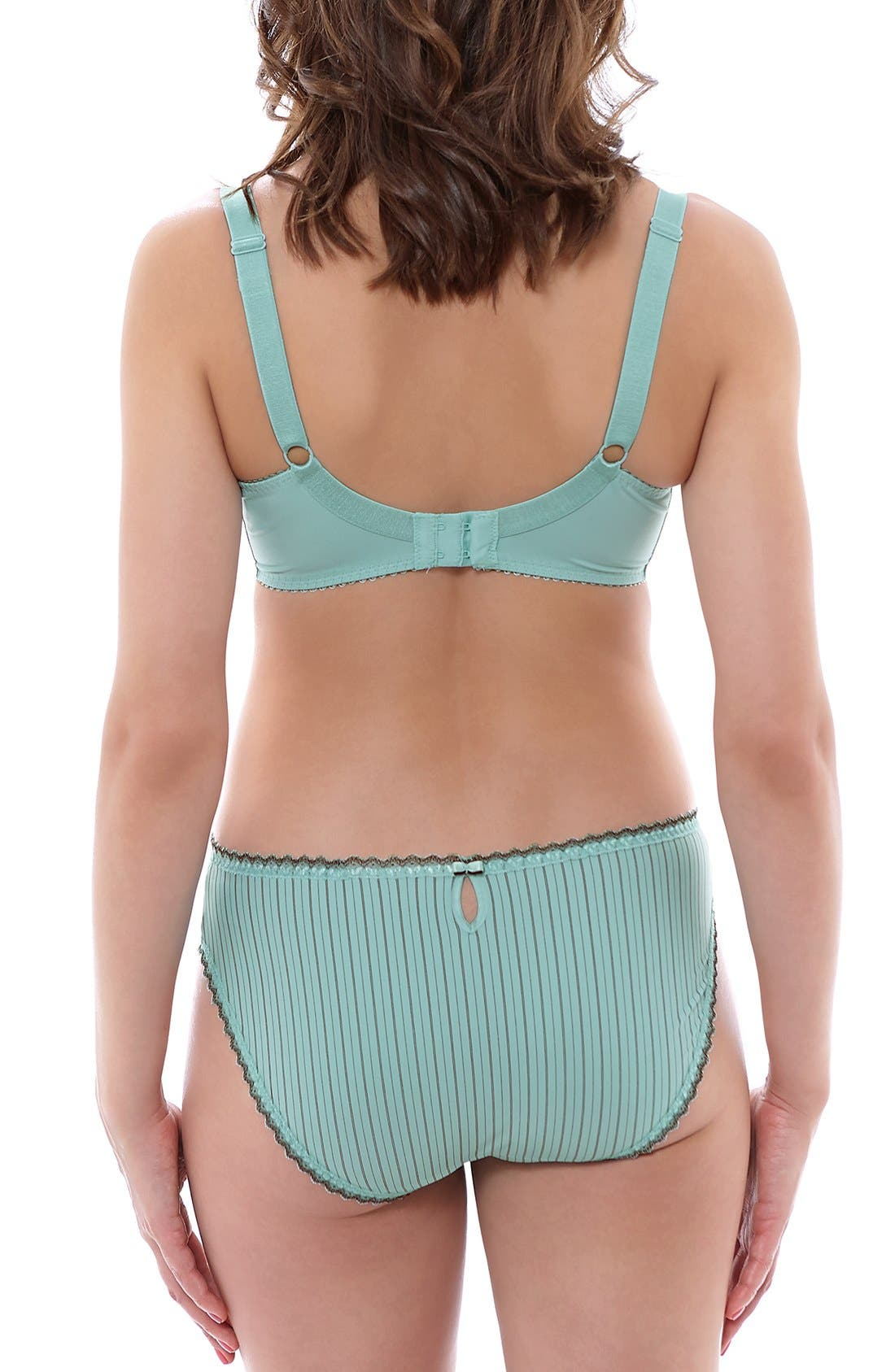 'Lois' Pinstripe Underwire Bra,                             Alternate thumbnail 4, color,                             Mint Chocolate