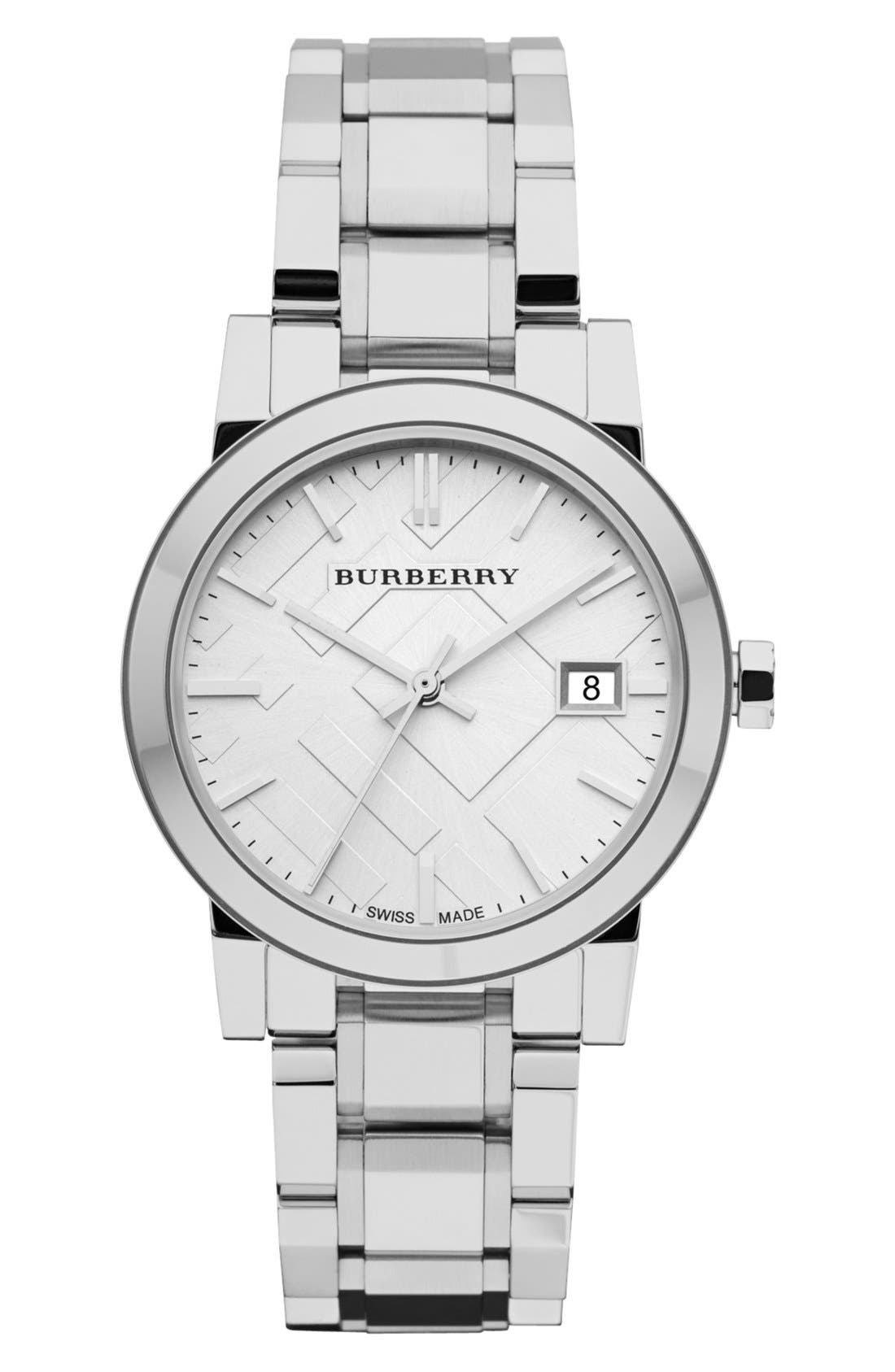 Main Image - Burberry Medium Check Stamped Bracelet Watch, 34mm
