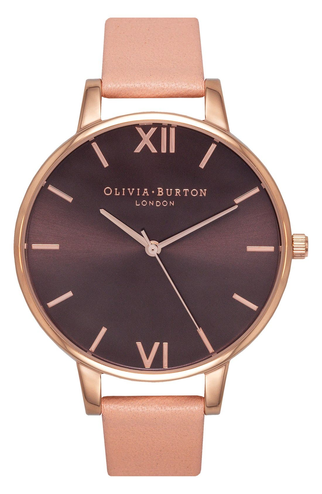 Big Dial Leather Strap Watch, 38mm,                         Main,                         color, Dusty Pink/ Black
