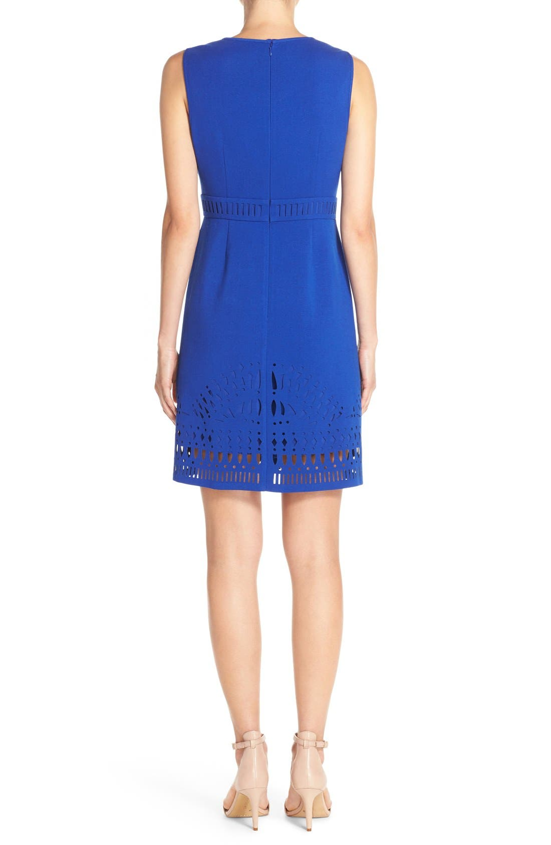 Alternate Image 2  - Eliza J Laser Cut Crepe Sheath Dress (Regular & Petite)