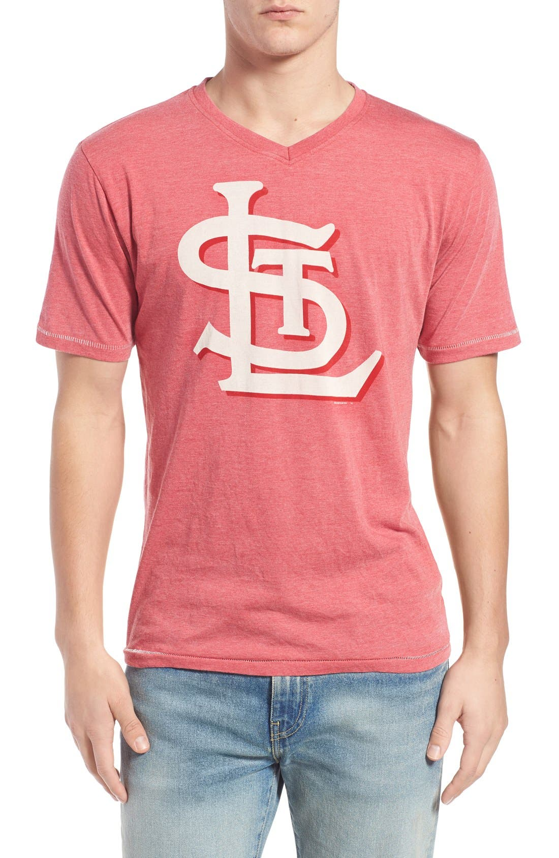 'Saint Louis Cardinals - Calumet' Graphic V-Neck T-Shirt,                             Main thumbnail 1, color,                             Red