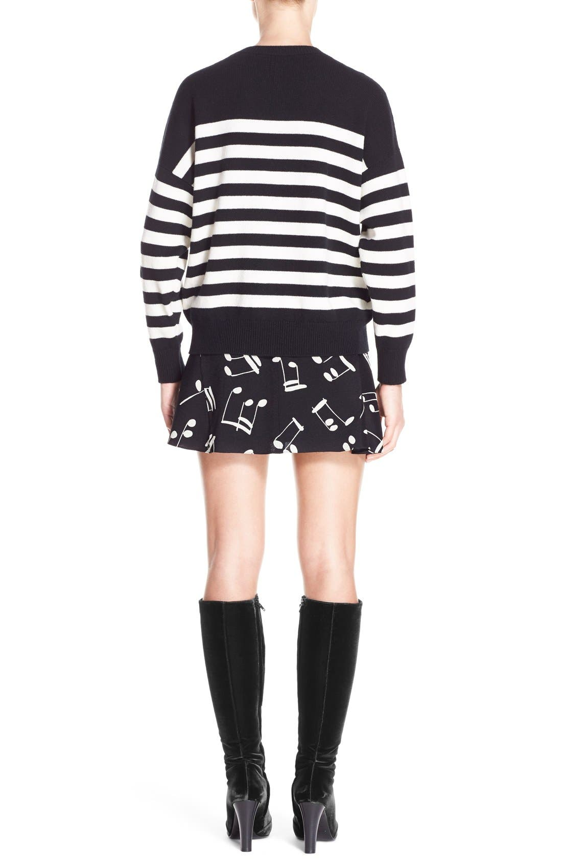 Stripe Cashmere Sweater,                             Alternate thumbnail 2, color,                             Black Creme