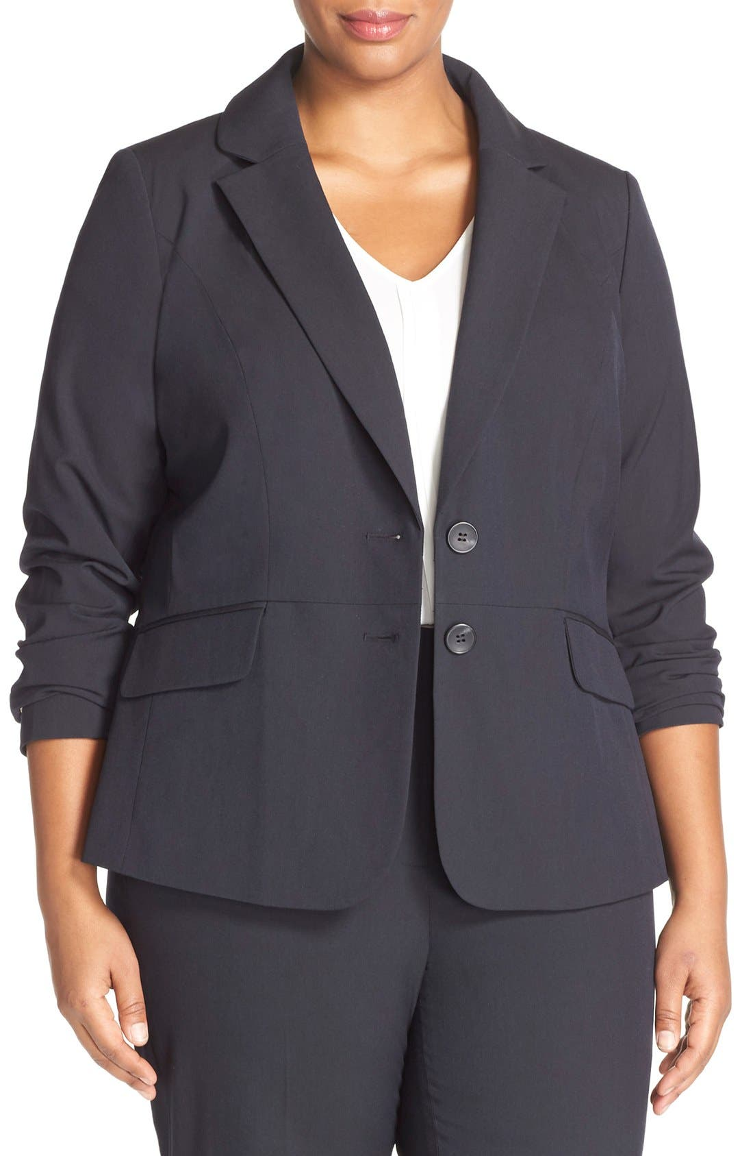 Alternate Image 1 Selected - Sejour 'Ela Two-Button Stretch Suit Jacket (Plus Size & Petite Plus)