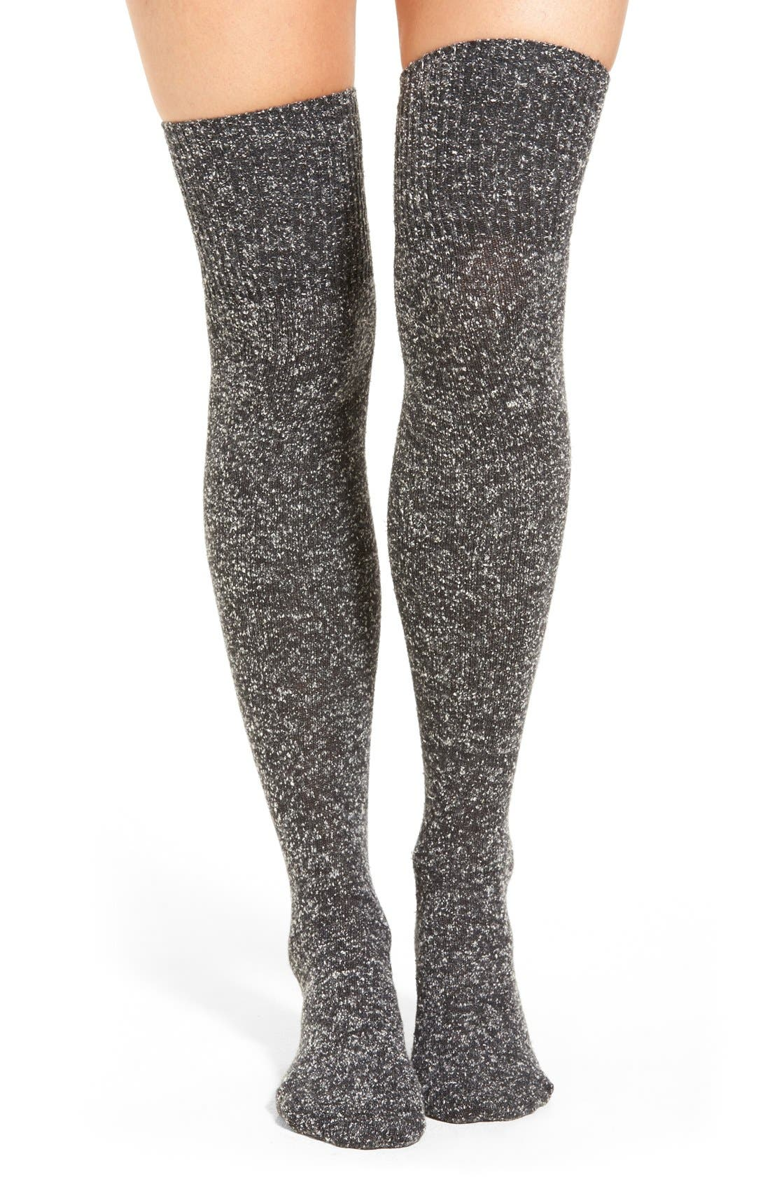 Main Image - Lemon 'Snowfall Tweed' Over the Knee Socks