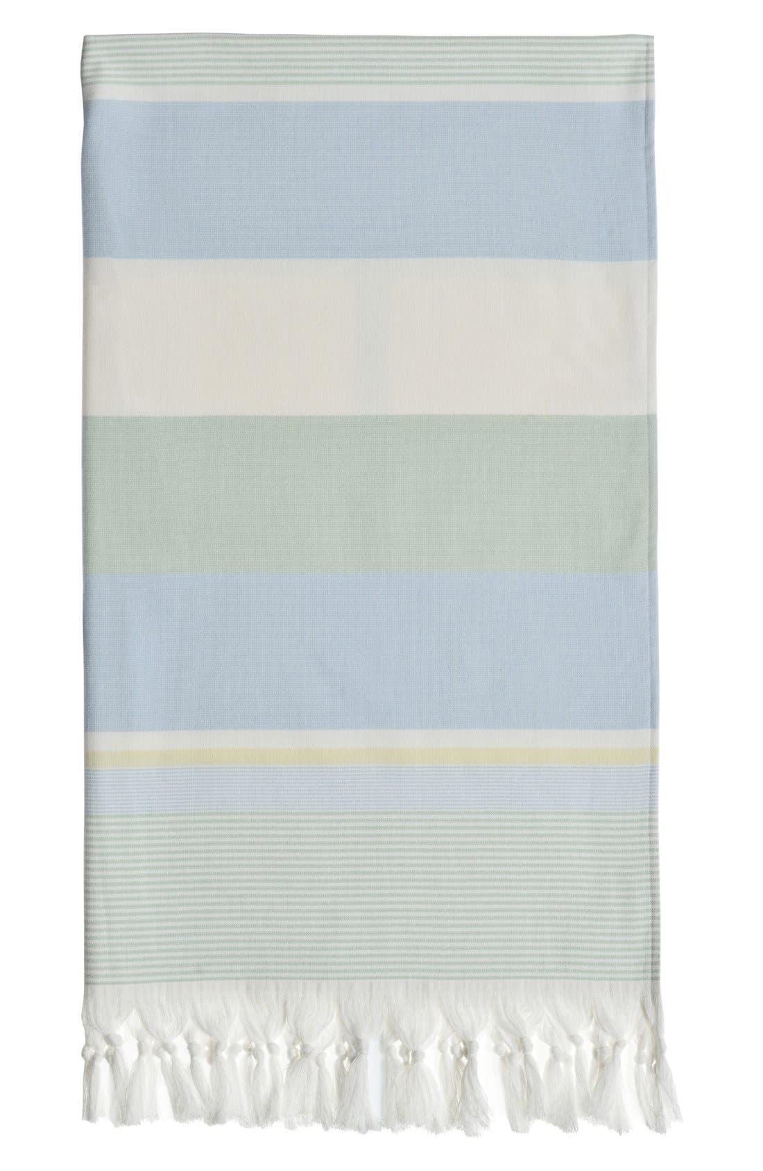 'Summer Loving' Turkish Pestemal Towel,                             Alternate thumbnail 3, color,                             Sky Blue