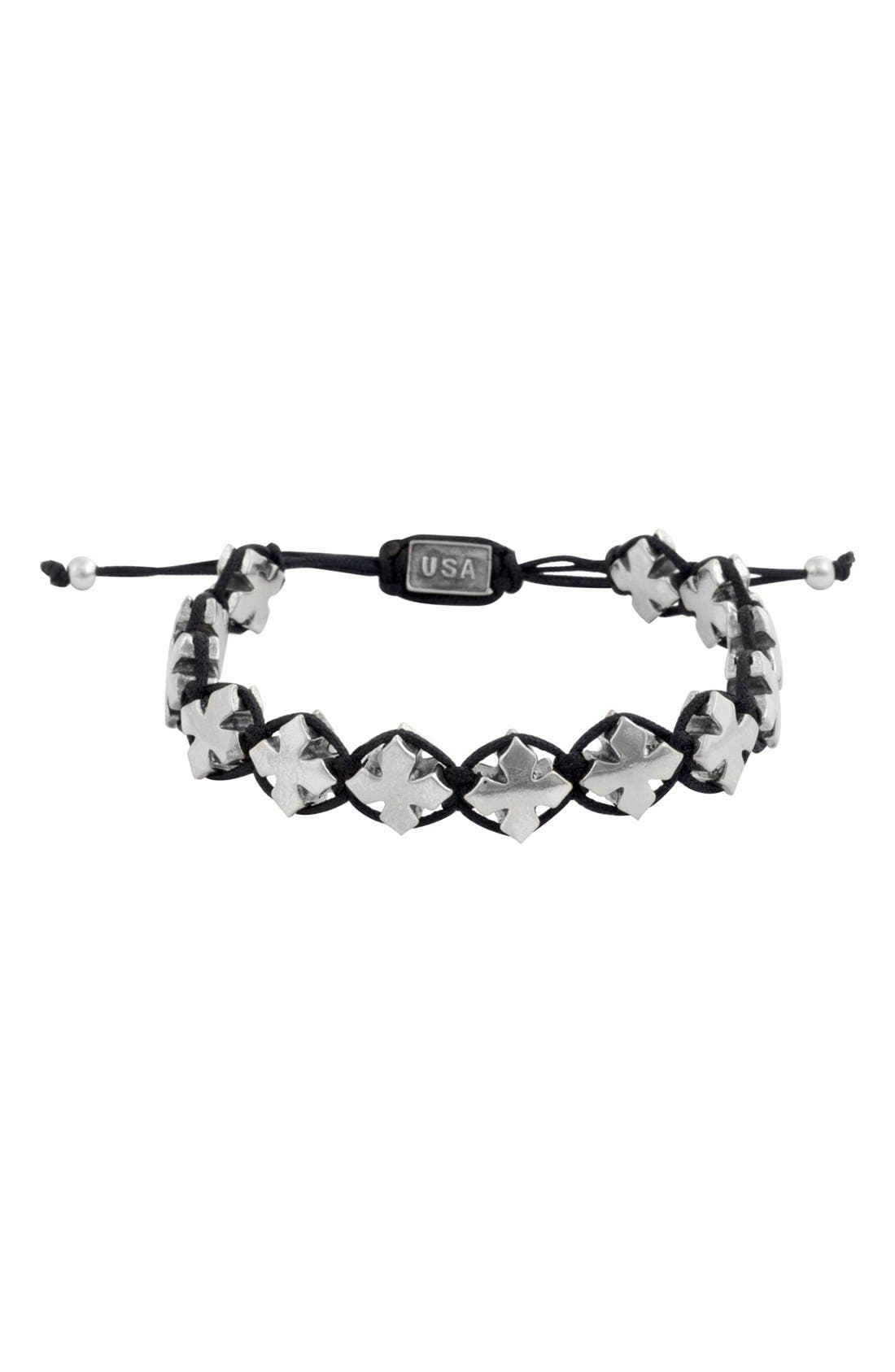Cross Bracelet,                         Main,                         color, Silver/ Black