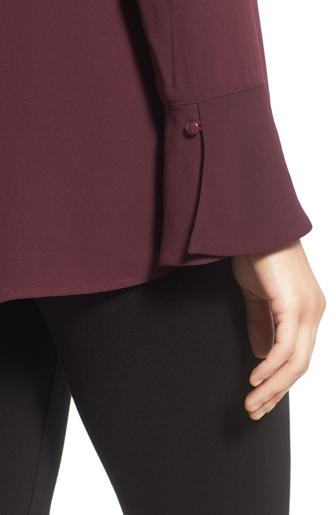 Bell Cuff High/Low Blouse,                             Alternate thumbnail 4, color,                             Burgundy Stem