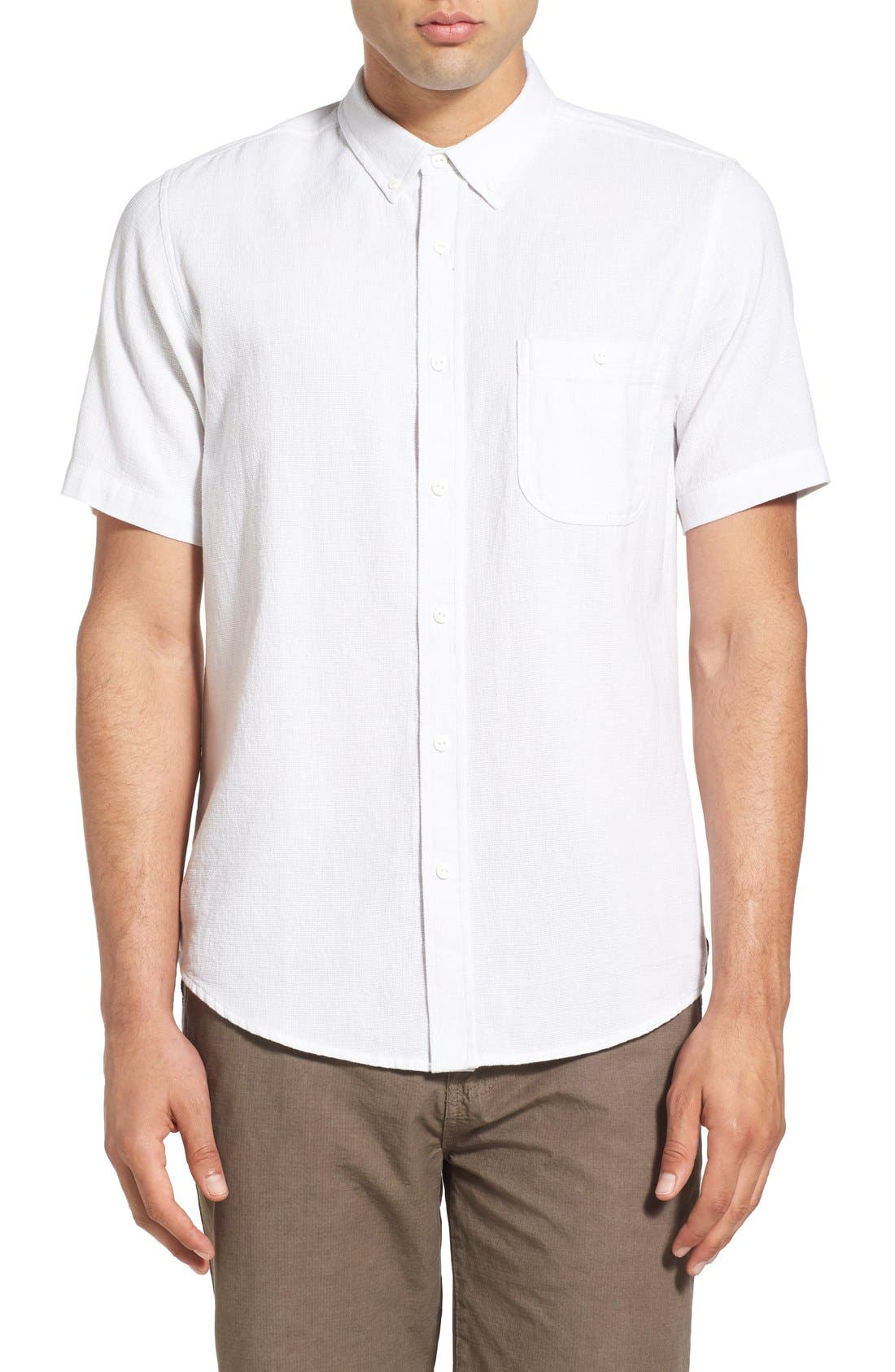'Highland' Regular Fit Short Sleeve Woven Shirt,                             Main thumbnail 1, color,                             White
