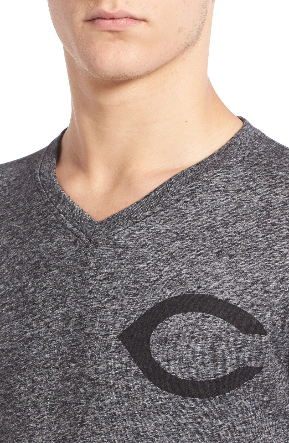 'Cincinnati Reds - Onyx' Trim Fit V-Neck T-Shirt,                             Alternate thumbnail 4, color,                             Charcoal-Black