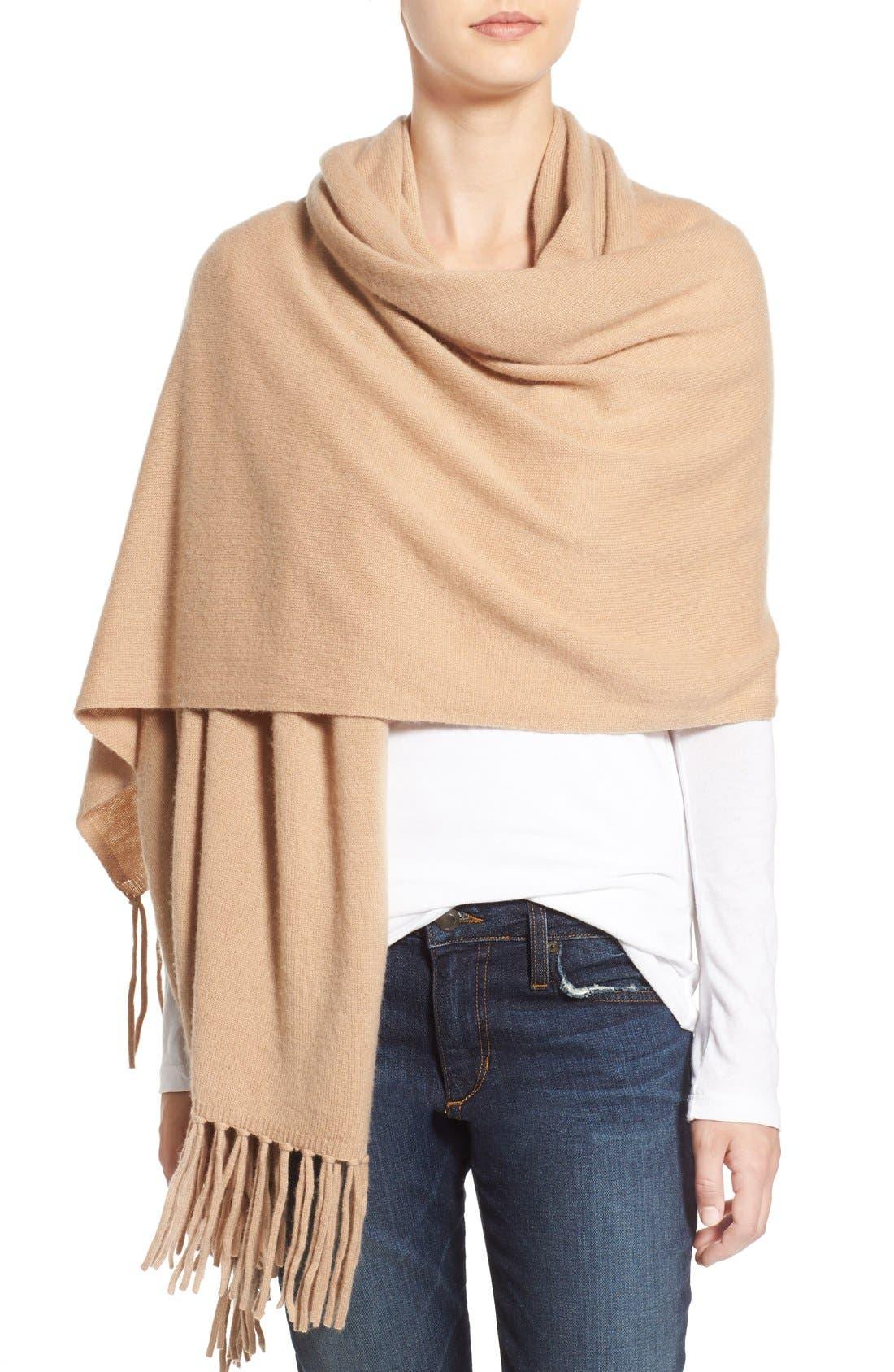 Alternate Image 4  - Nordstrom Collection Fringe Cashmere Wrap