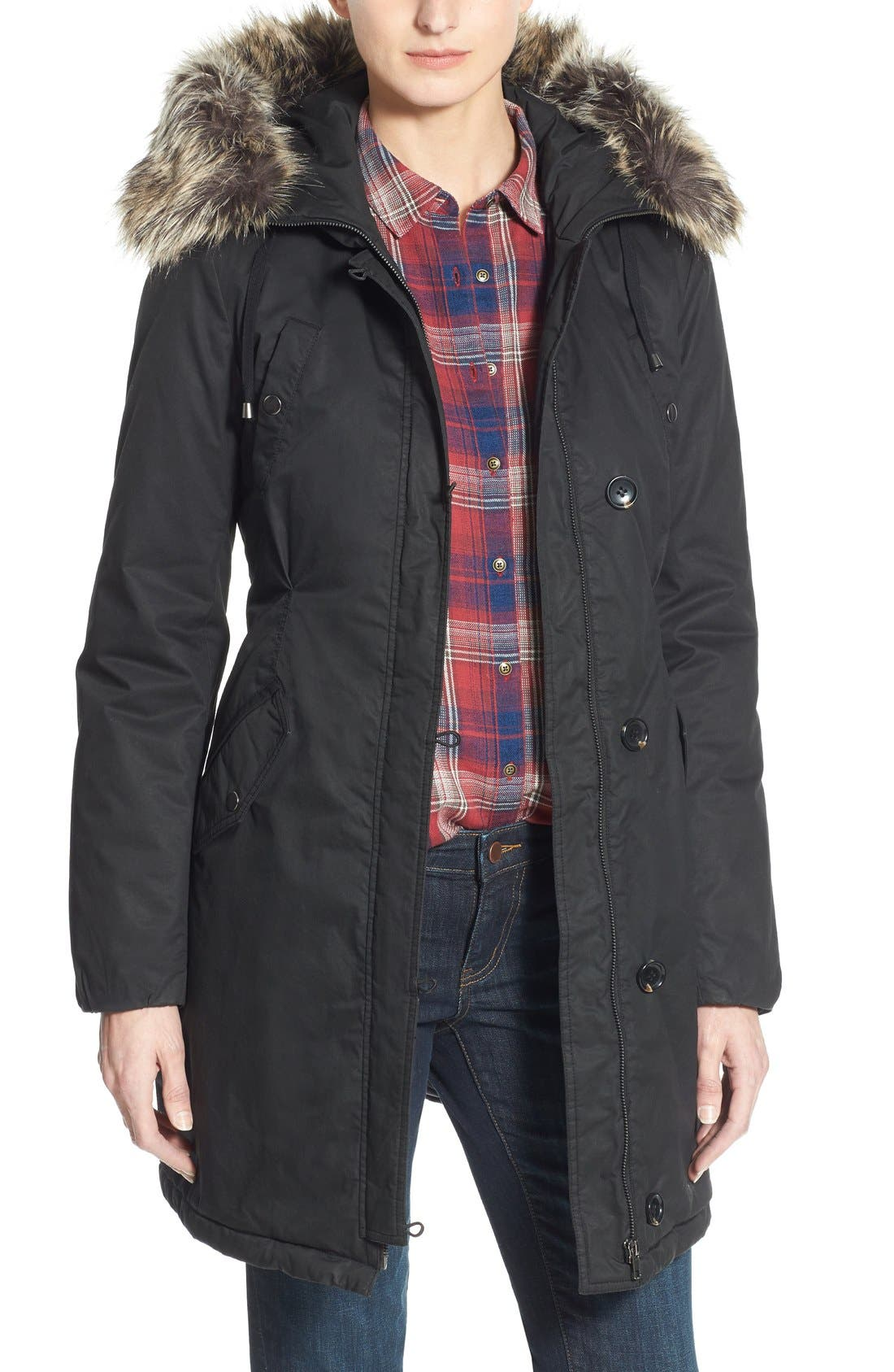 Alternate Image 1 Selected - Halogen® Hooded Parka with Faux Fur Trim (Regular & Petite)