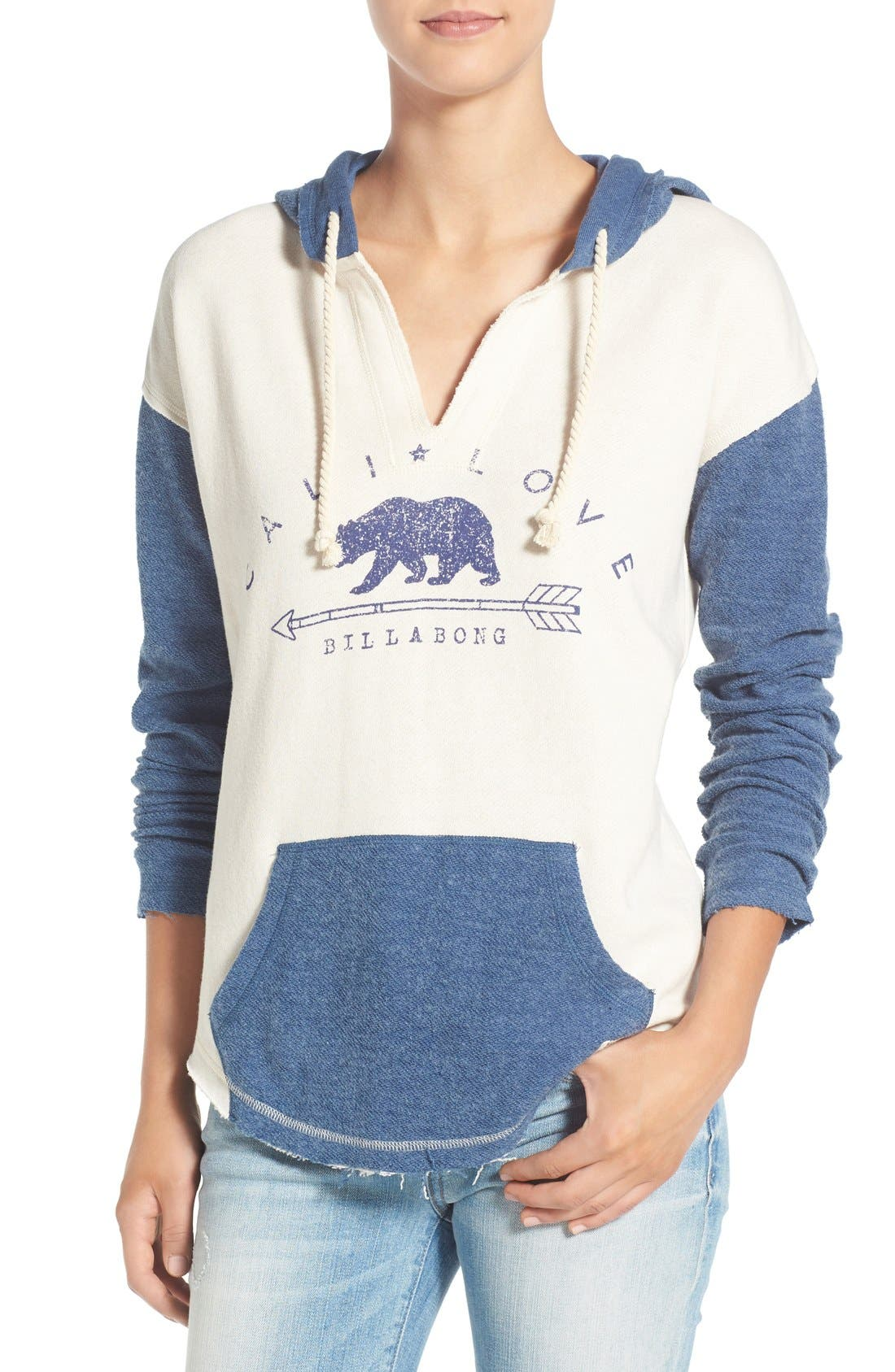'Cali Days' Colorblock Hoodie,                         Main,                         color, Aged Indigo