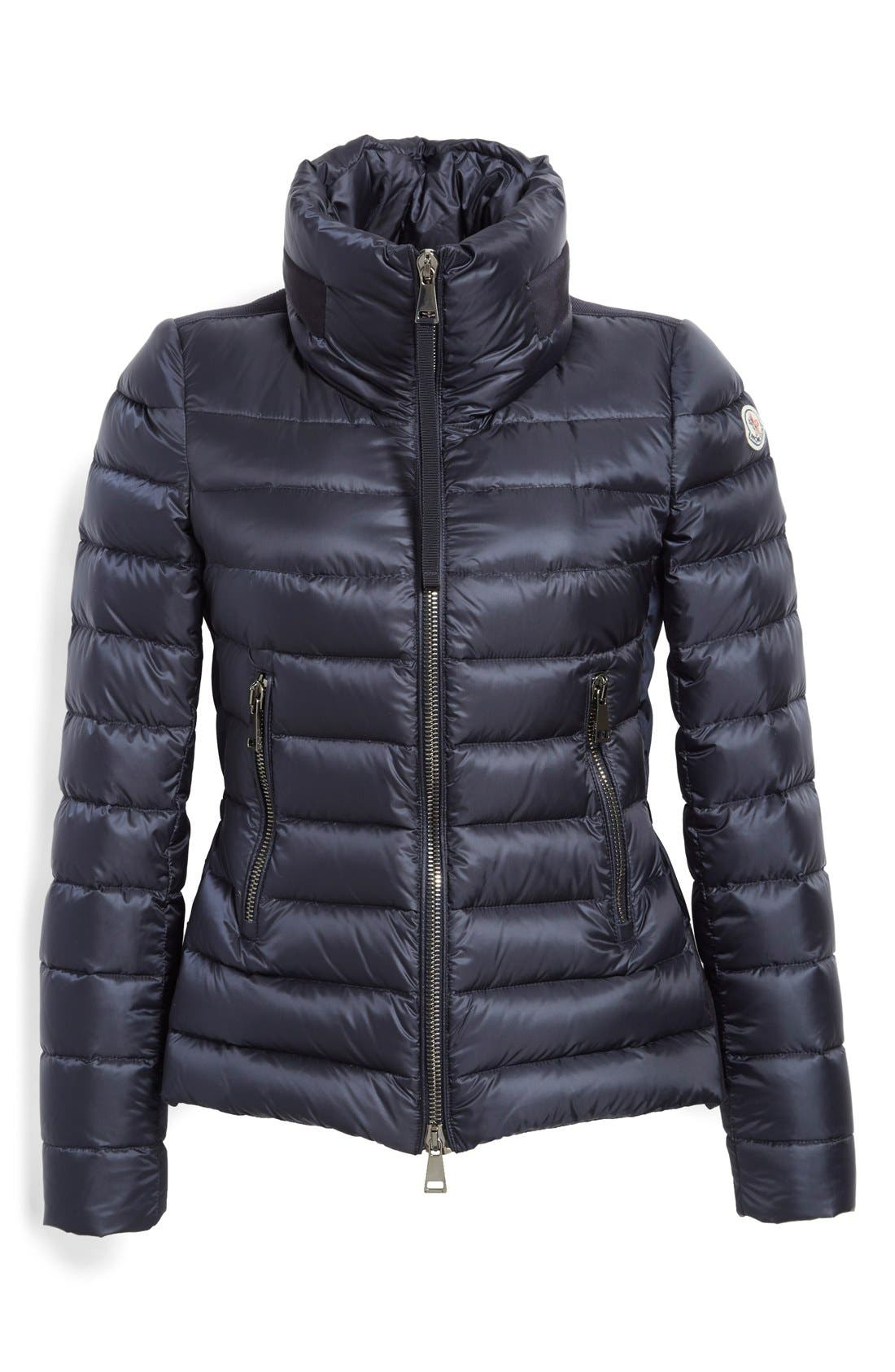 'Agape' Water Resistant Hooded Down Jacket,                             Alternate thumbnail 4, color,                             Navy