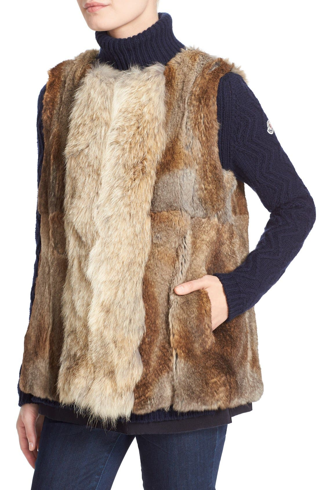 'Margarita' Down Jacket with Removable Genuine Coyote Collar and Rabbit Fur Vest,                             Alternate thumbnail 2, color,                             Olive
