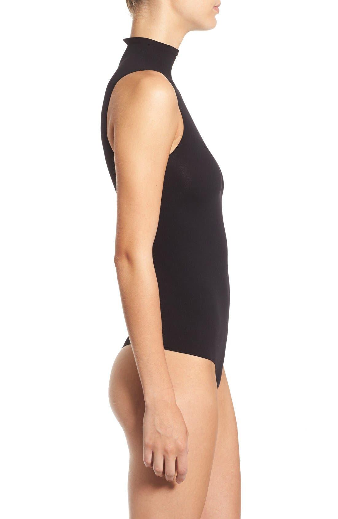 'Ballet Body' Sleeveless Thong Bodysuit,                             Alternate thumbnail 3, color,                             Black