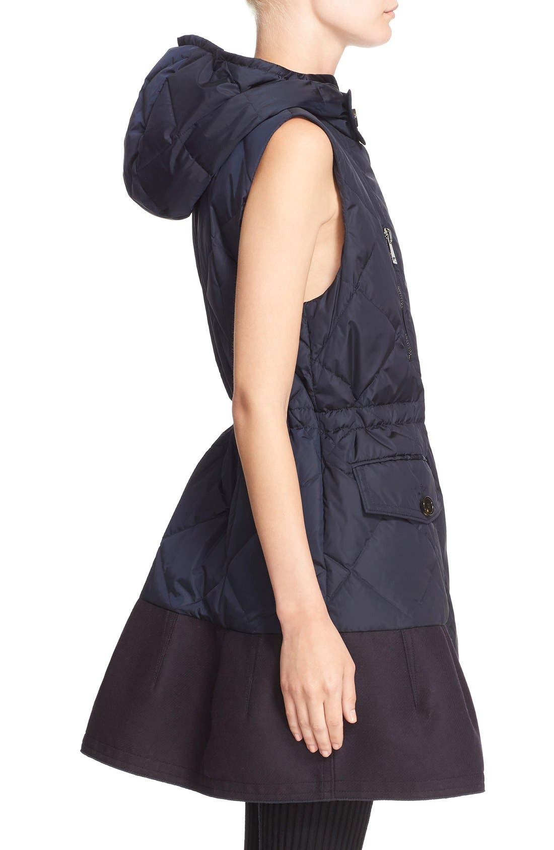 'Eles' Water Resistant Quilted Hooded Down Vest,                             Alternate thumbnail 6, color,                             Navy