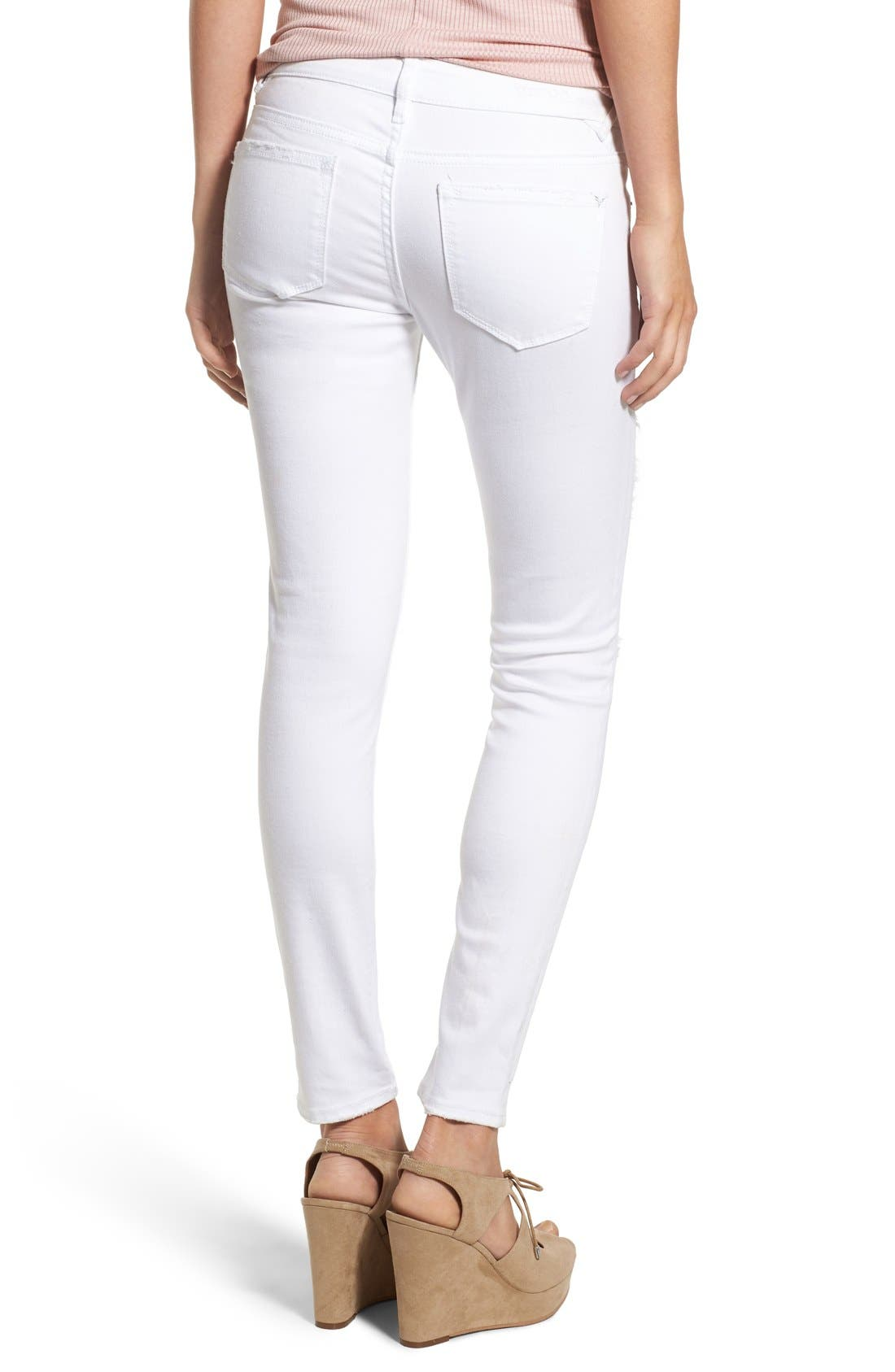 Distressed Skinny Jeans,                             Alternate thumbnail 2, color,                             White