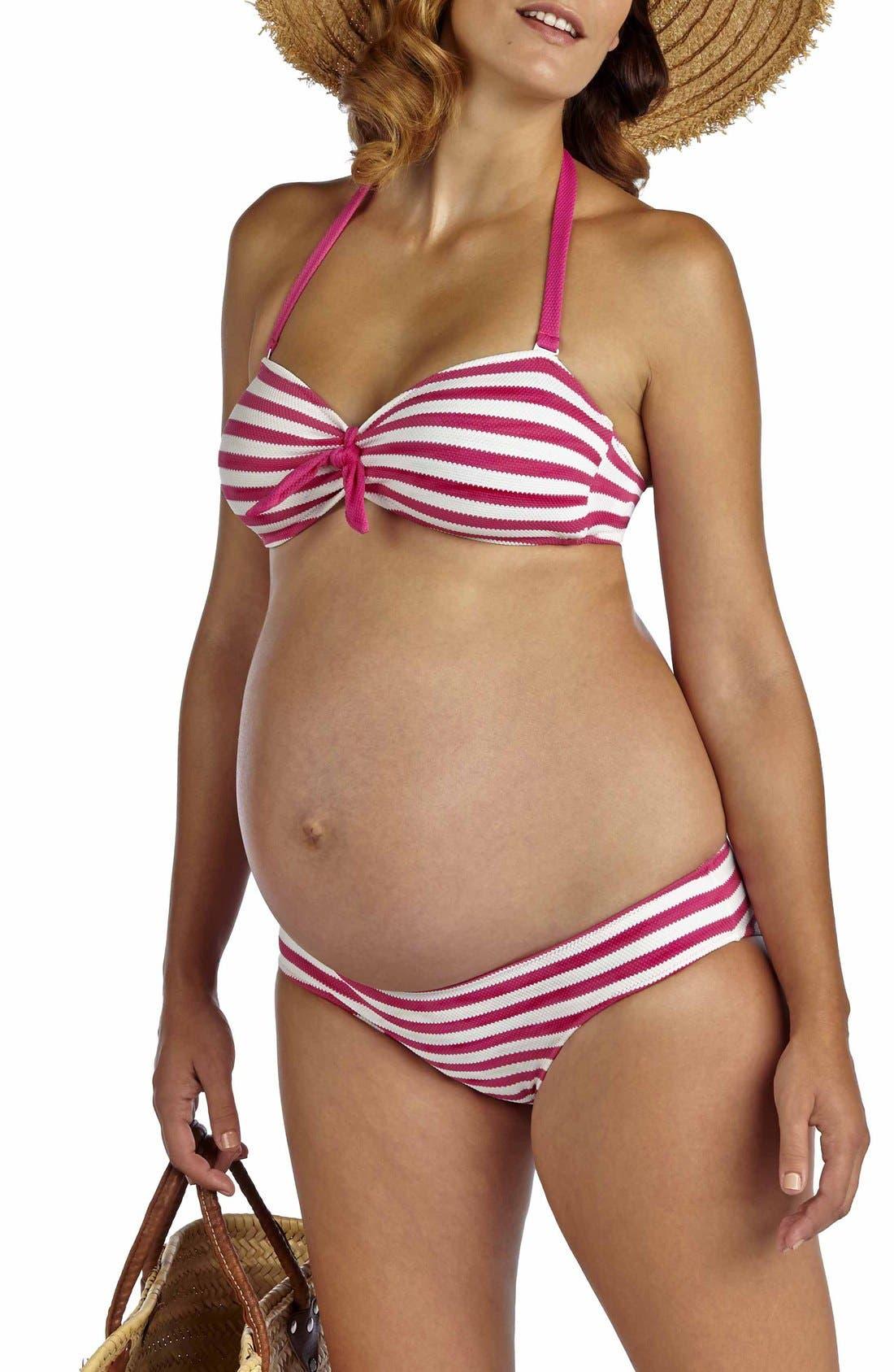 Pez D'Or 'Rimini' Textured Stripe Maternity Bikini