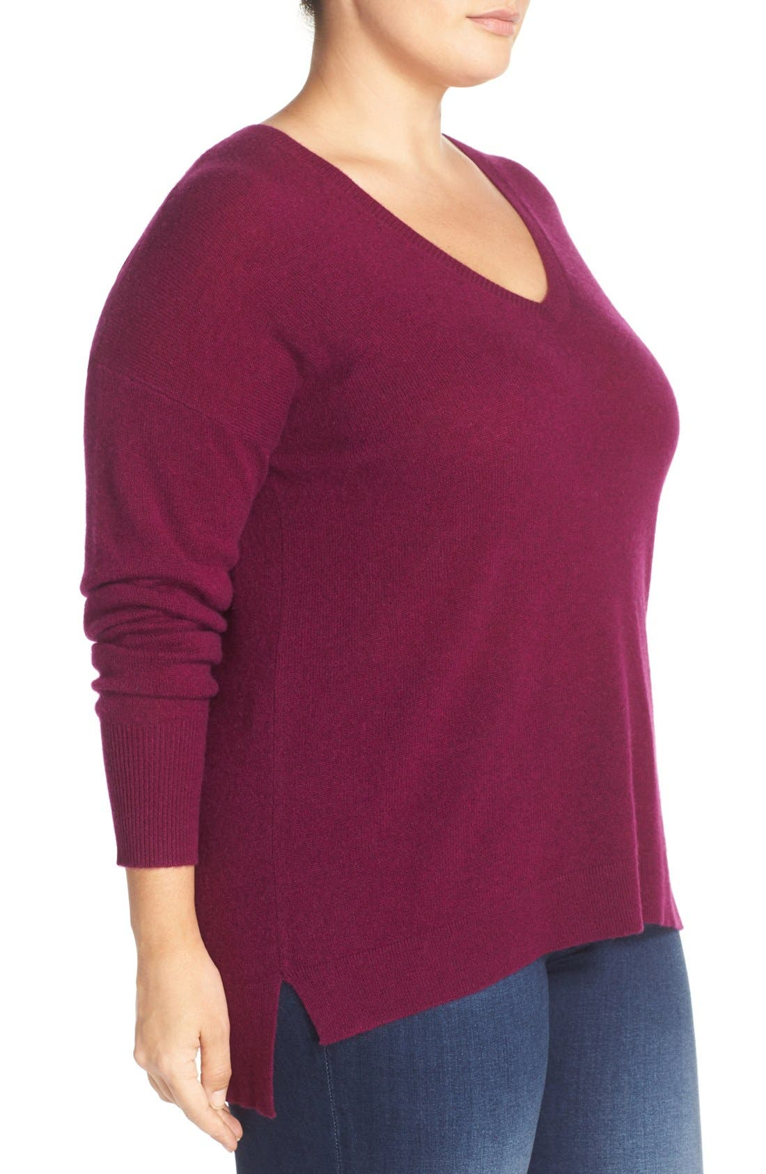 Alternate Image 4  - Halogen® V-Neck Cashmere Sweater (Plus Size)