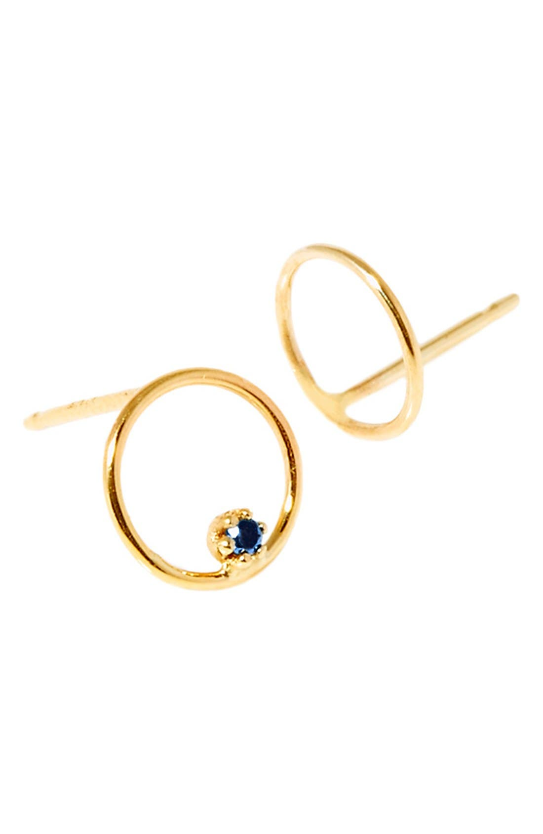 'Stone Bubble' Mismatched Gold & Sapphire Earrings,                         Main,                         color, Yellow Gold
