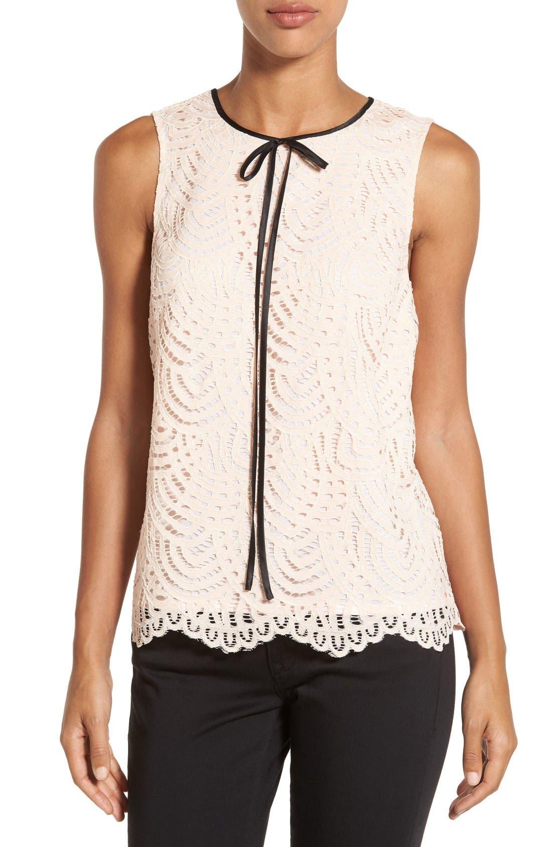 Alternate Image 1 Selected - Halogen® Tie Neck Lace Top (Regular & Petite)