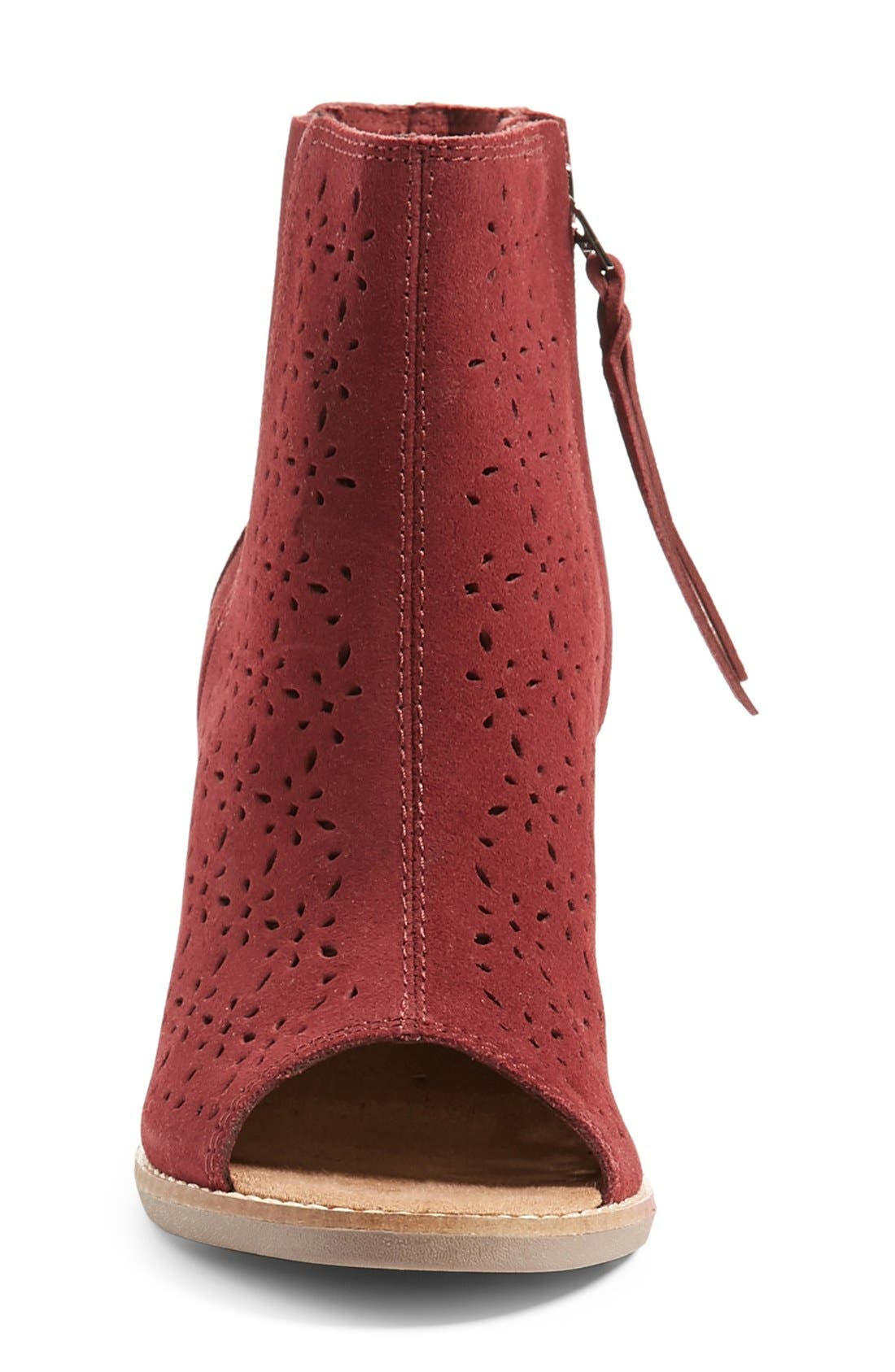 'Majorca' Peep Toe Bootie,                             Alternate thumbnail 3, color,                             Burgundy Suede