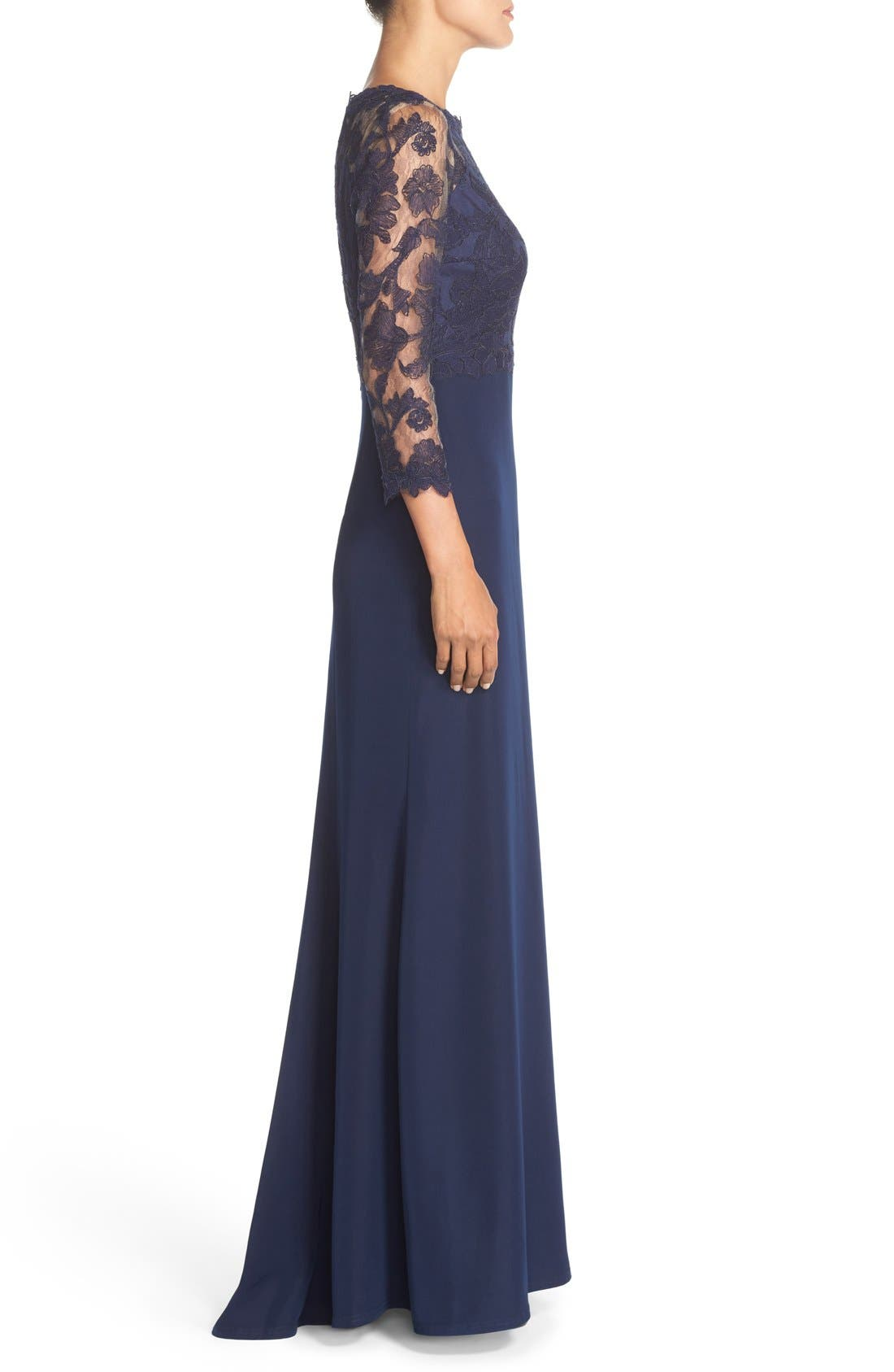Embroidered Lace Gown,                             Alternate thumbnail 3, color,                             Royal Navy