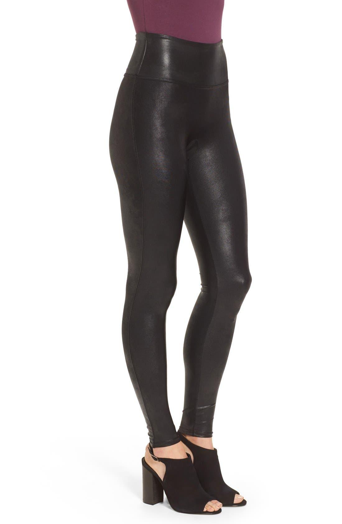 Faux Leather Leggings,                             Alternate thumbnail 5, color,                             Black
