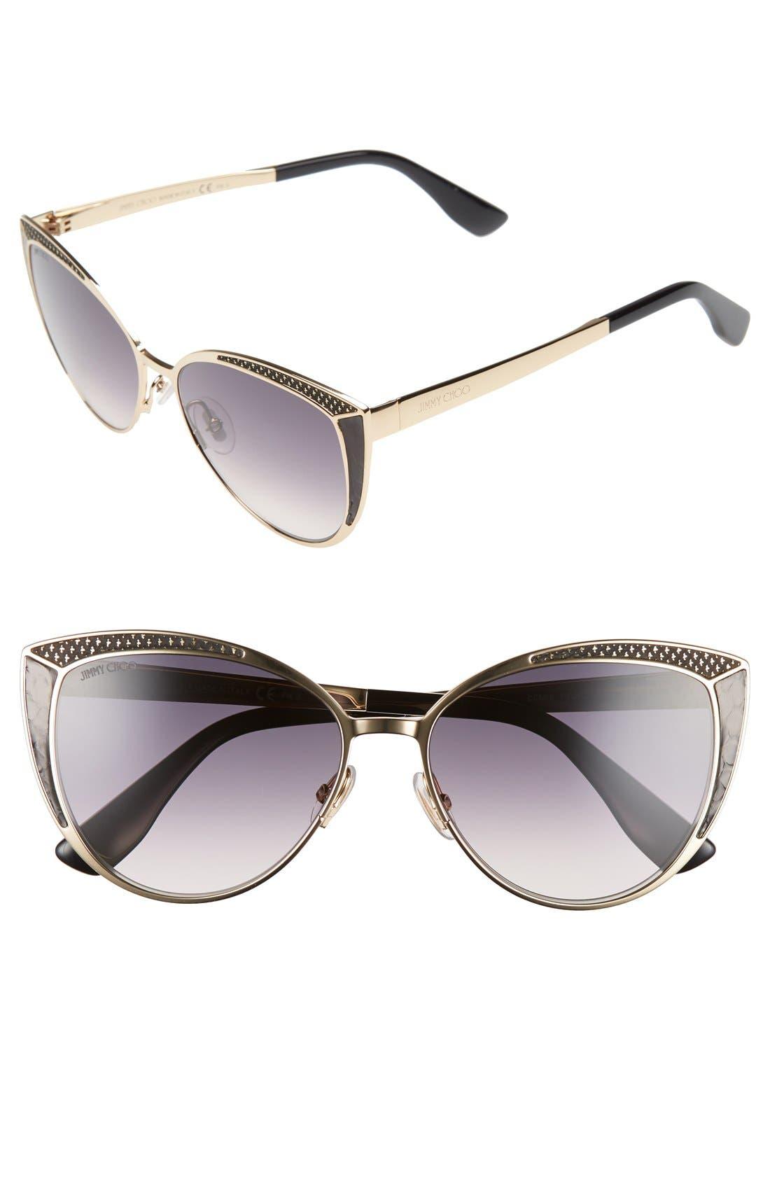 56mm Cat Eye Sunglasses,                         Main,                         color, Rose Gold