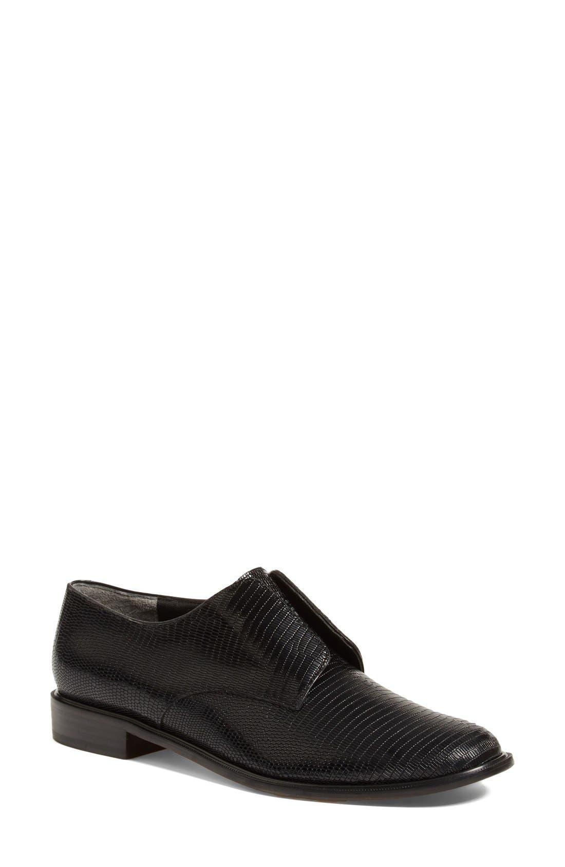 'Jamo' Slip-On Oxford,                             Main thumbnail 1, color,                             Black Leather