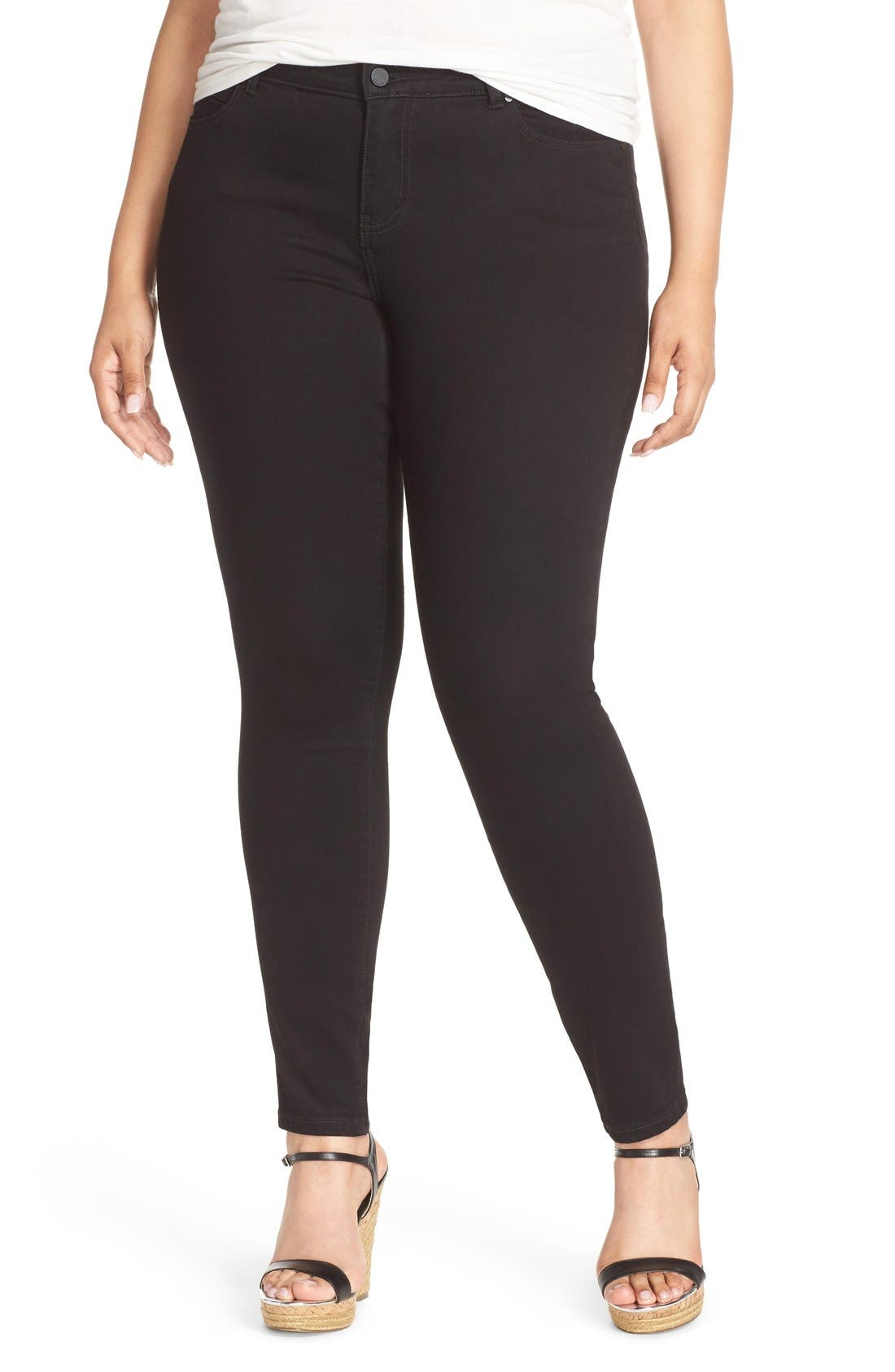 Stretch Skinny Ankle Jeans,                         Main,                         color, Black