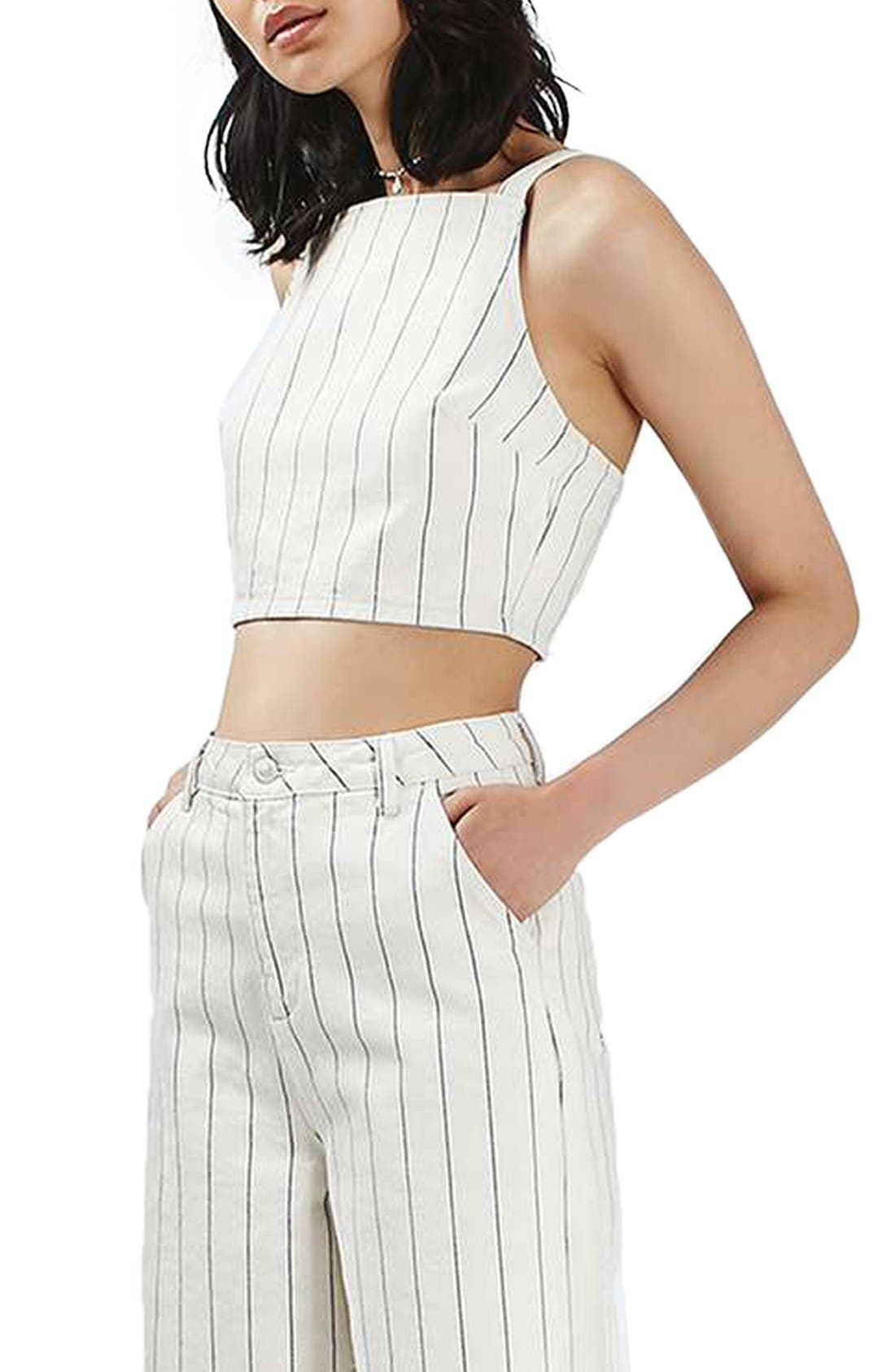 Alternate Image 1 Selected - Topshop Stripe Denim Crop Top