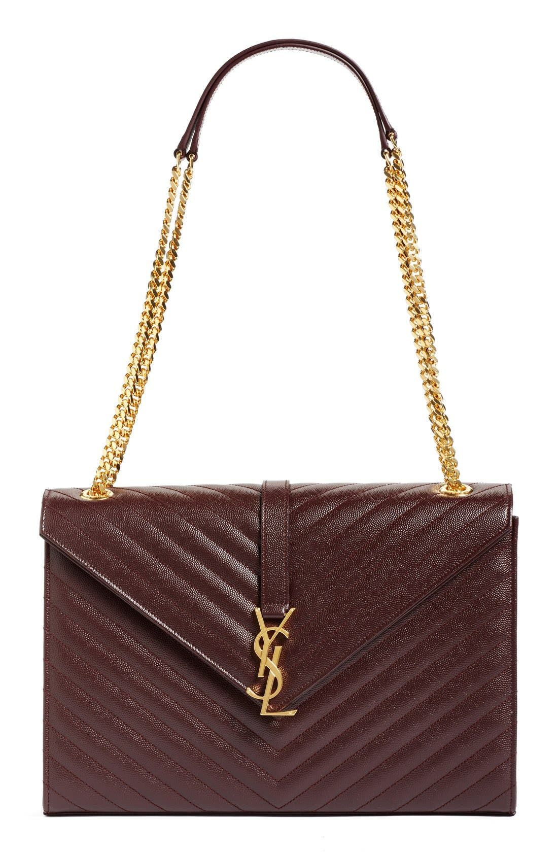 Saint Laurent 'Large Monogram' Grained Leather Shoulder Bag