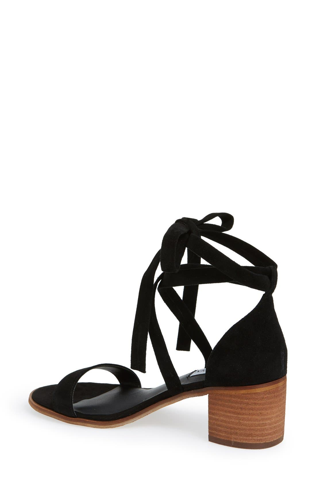 'Rizzaa' Ankle Strap Sandal,                             Alternate thumbnail 3, color,                             Black Suede