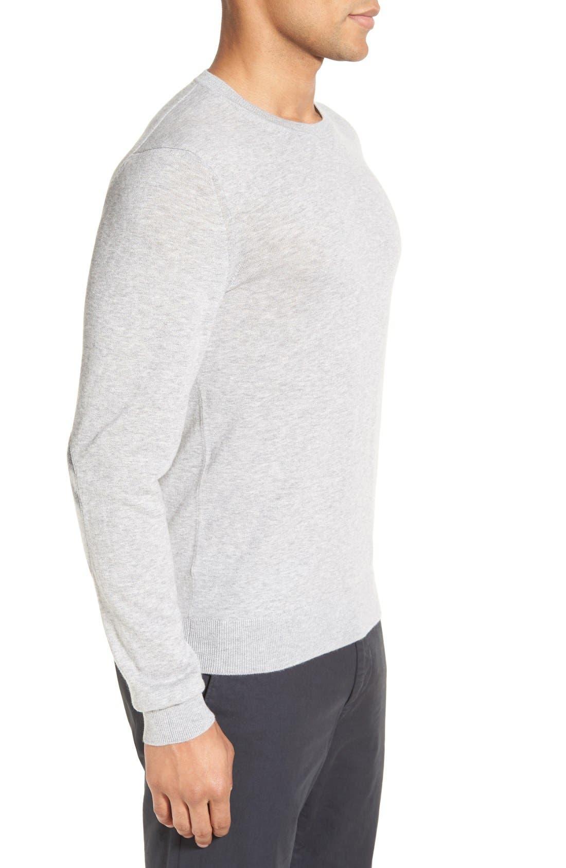 Brit Richmond Cotton & Cashmere Sweater,                             Alternate thumbnail 3, color,                             Pale Grey Melange