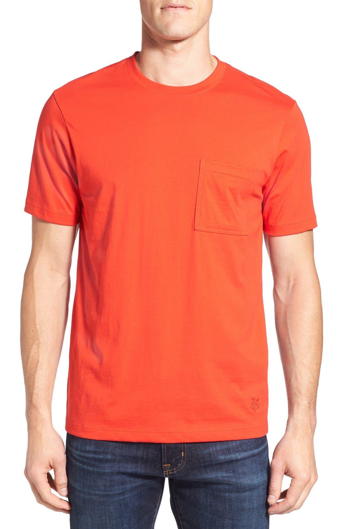Pocket T-Shirt,                         Main,                         color, Poppy Red