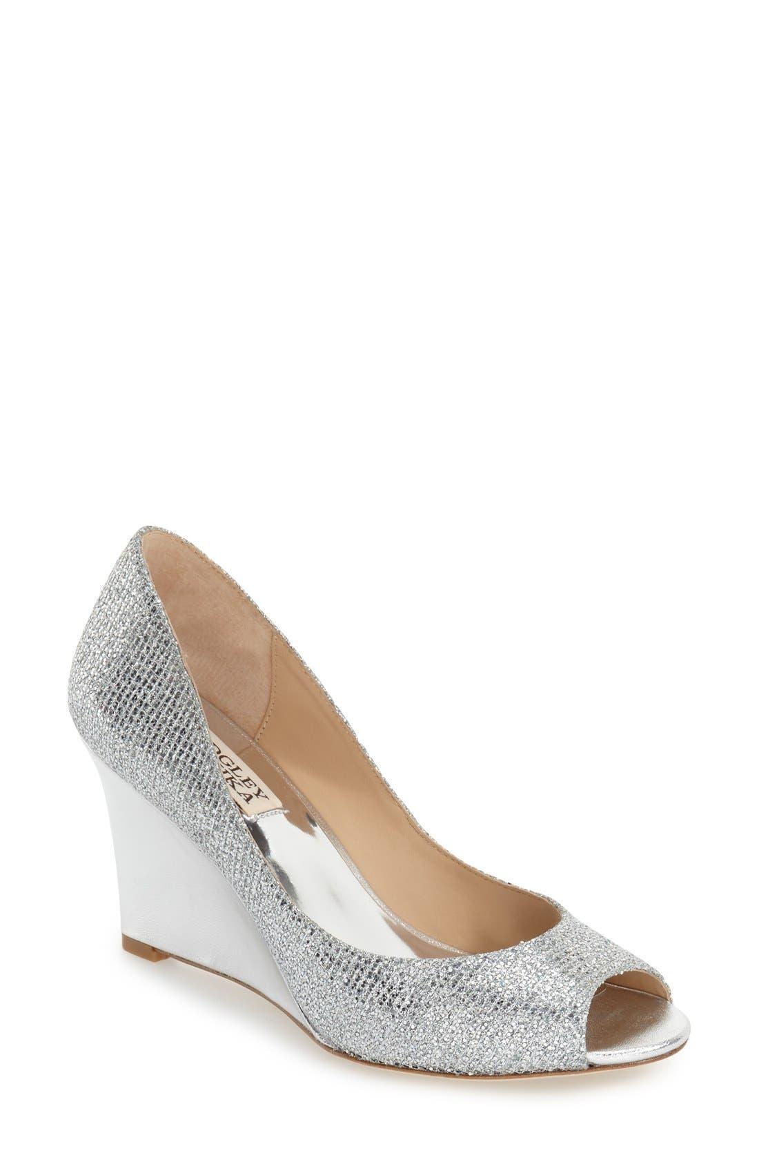 'Awake' Embellished Peep Toe Wedge Pump,                             Main thumbnail 1, color,                             Silver Glitter Fabric