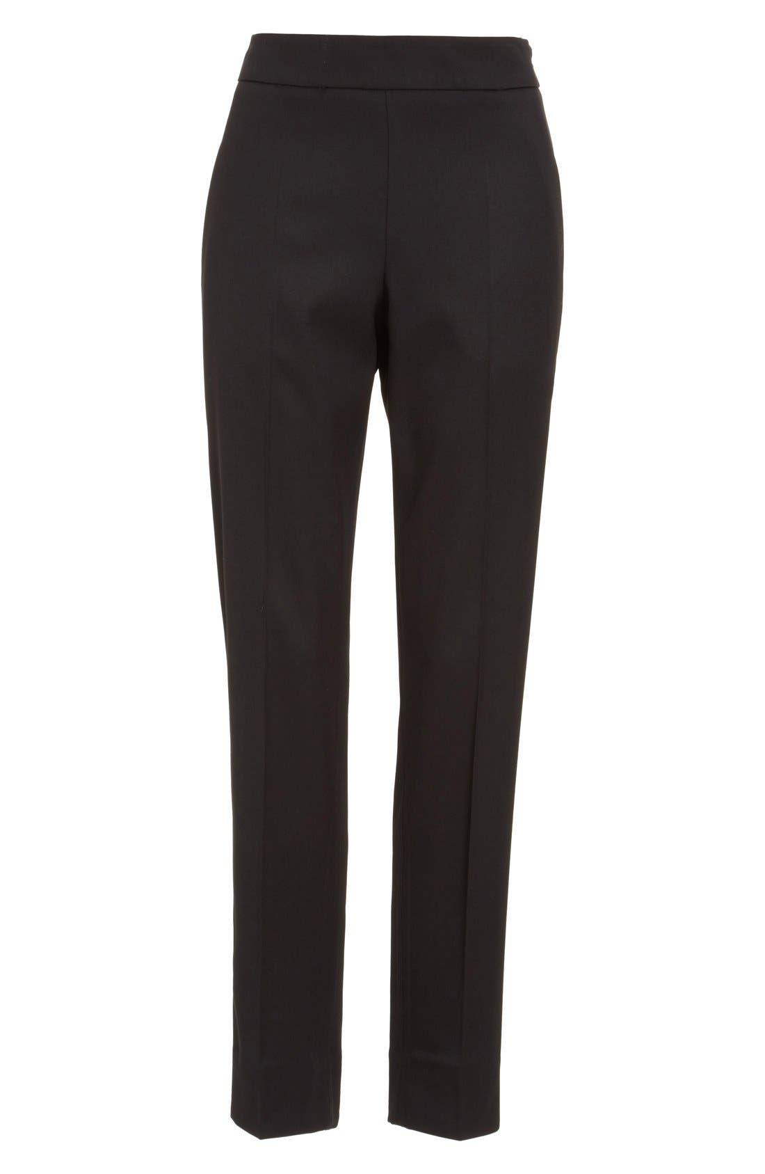 Alternate Image 4  - Oscar de la Renta Stretch Wool Straight Leg Pants