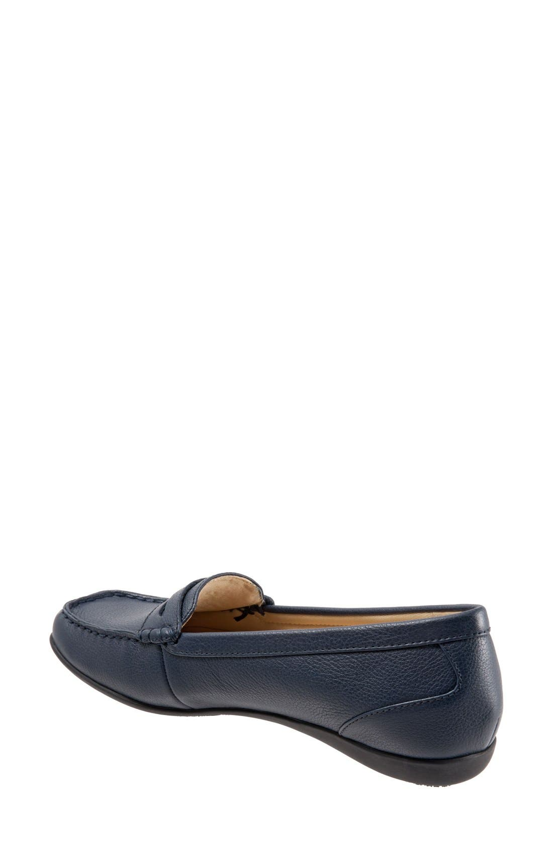 'Staci' Penny Loafer,                             Alternate thumbnail 2, color,                             Navy Leather