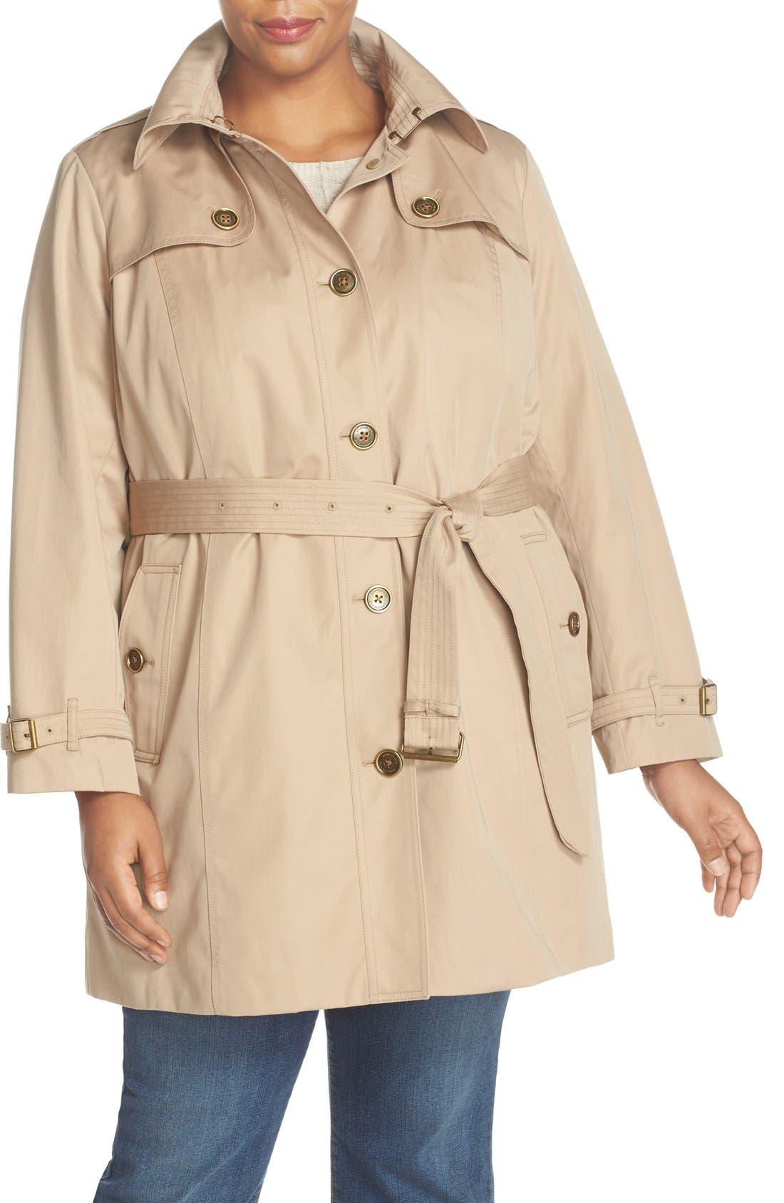 Alternate Image 4  - London Fog Single Breasted Trench Coat (Plus Size)