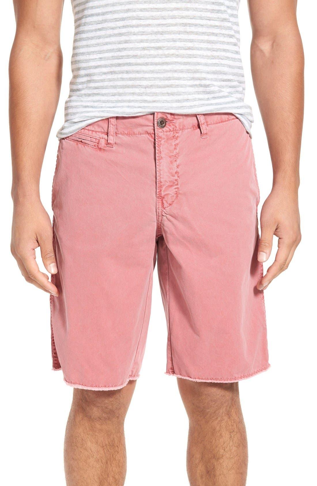 'St. Barts' Raw Edge Shorts,                             Main thumbnail 1, color,                             Cranberry