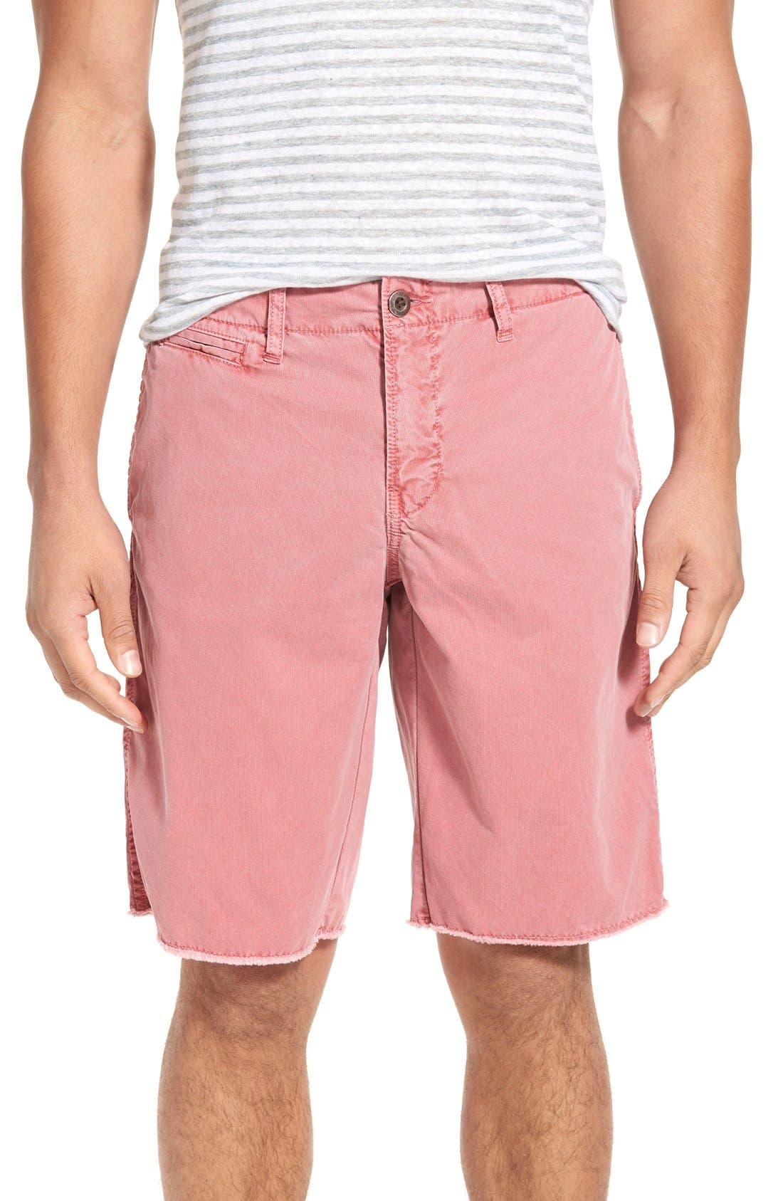 'St. Barts' Raw Edge Shorts,                         Main,                         color, Cranberry