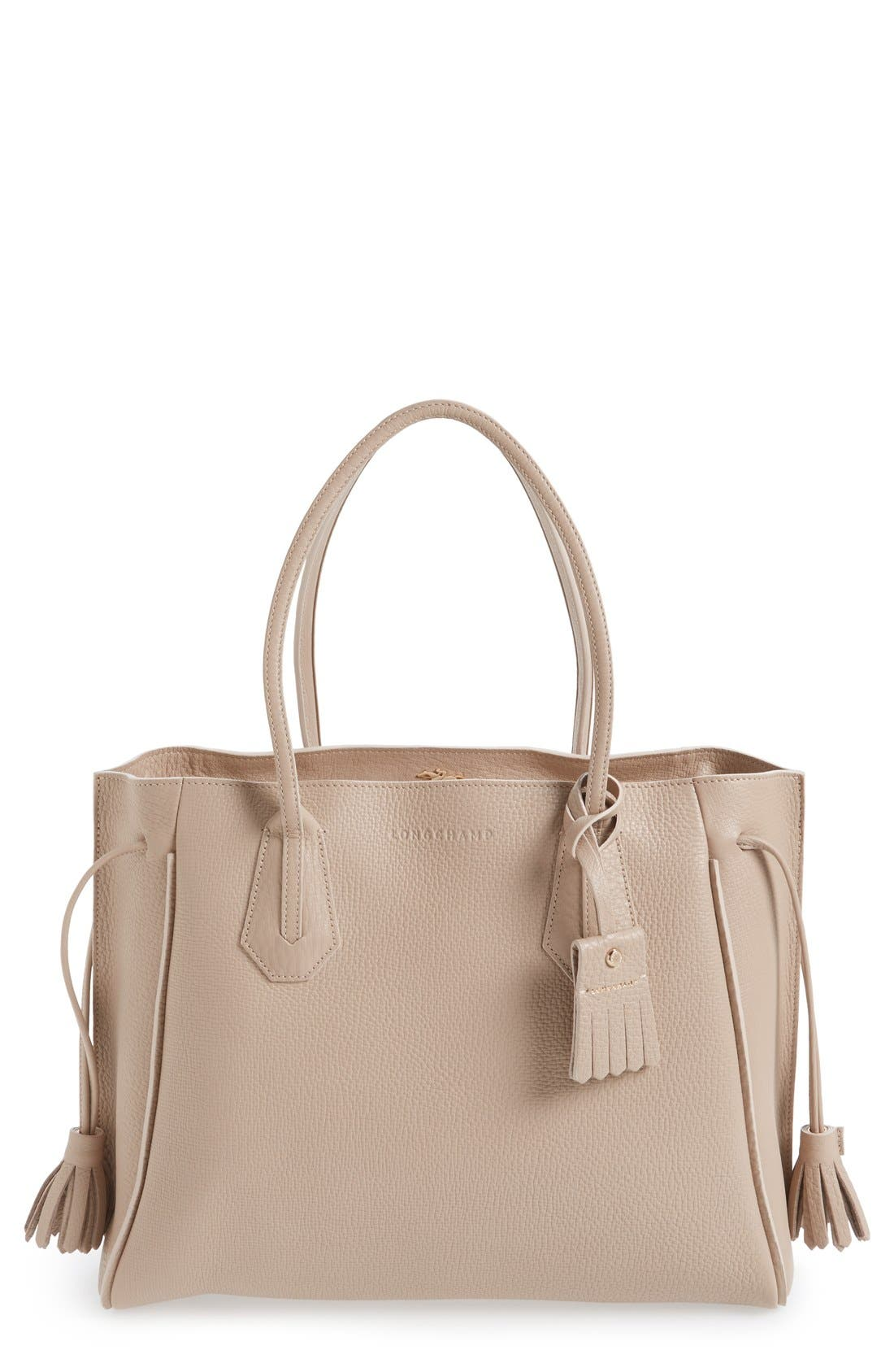 Longchamp 'Penelope' Tassel Drawstring Leather Tote