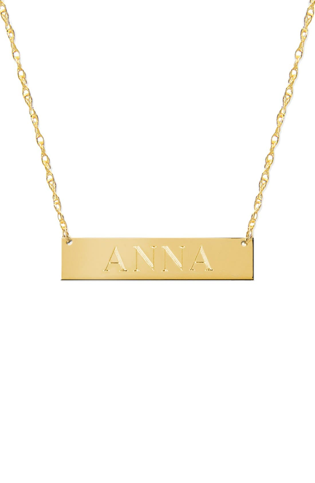 Personalized Bar Pendant Necklace,                             Main thumbnail 1, color,                             Gold