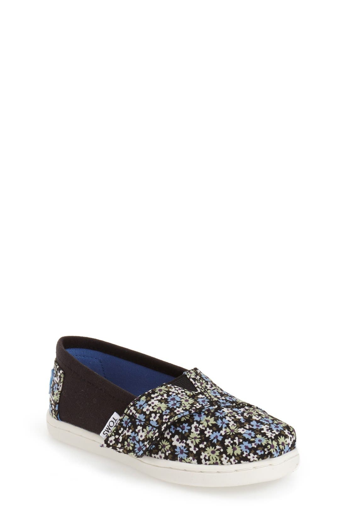 TOMS 'Classic - Black Canvas Ditsy Floral' Slip-On (Baby, Walker & Toddler)